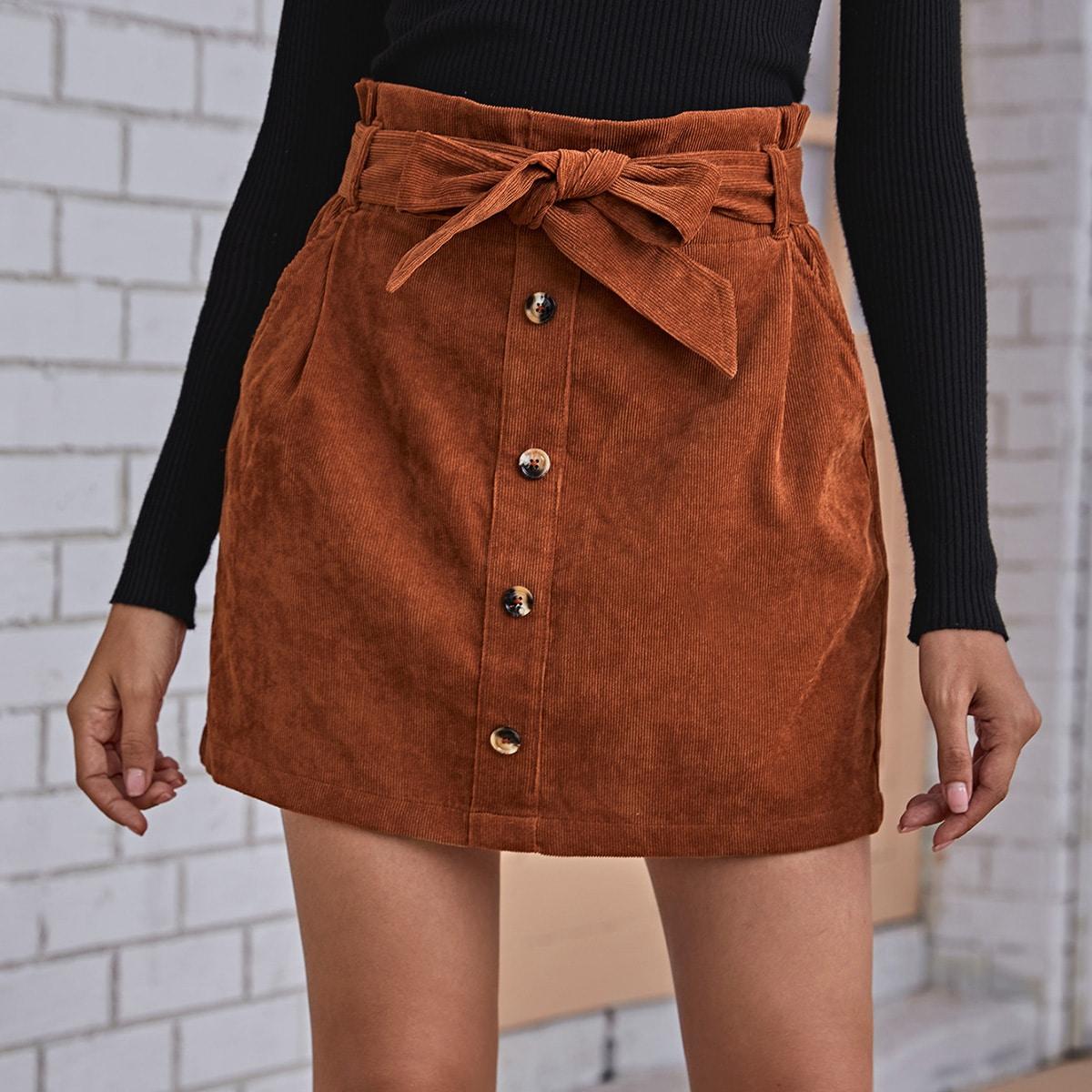 Вельветовая юбка с пуговицами и присборенной талией