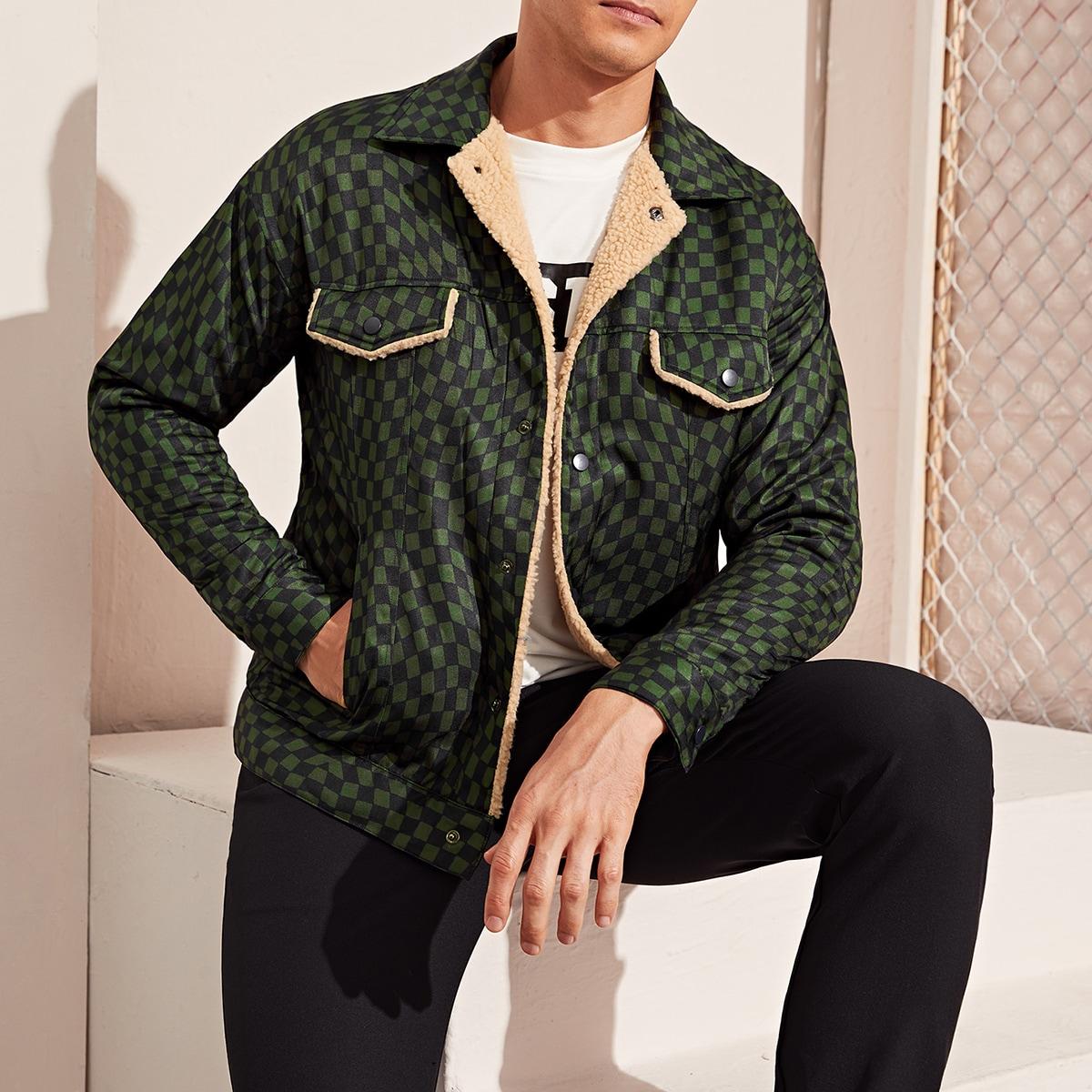 Мужская куртка в клетку с искусственной шерстяной отделкой