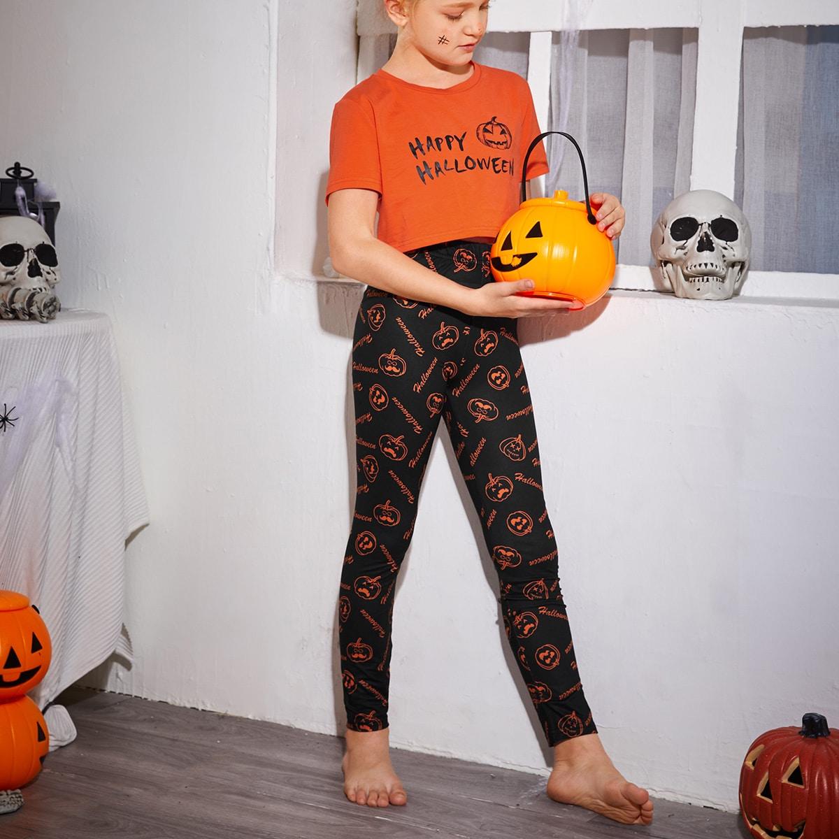 """Пижама с принтом """"хэллоуин"""" для девочек"""