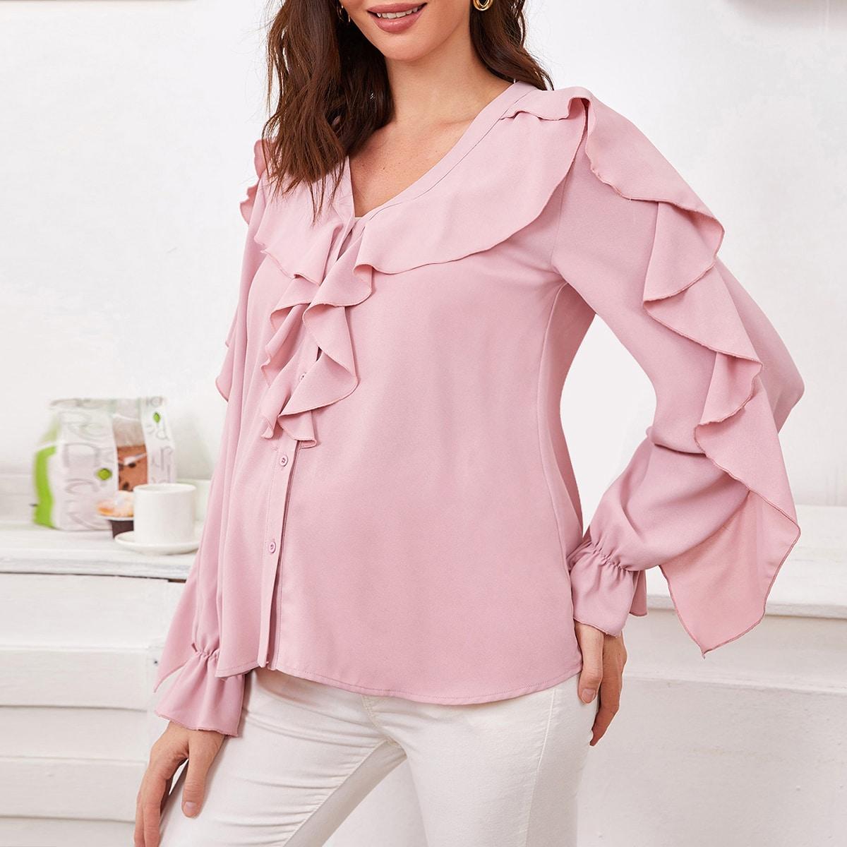Кайма одноцветный элегантный блузы для беременных
