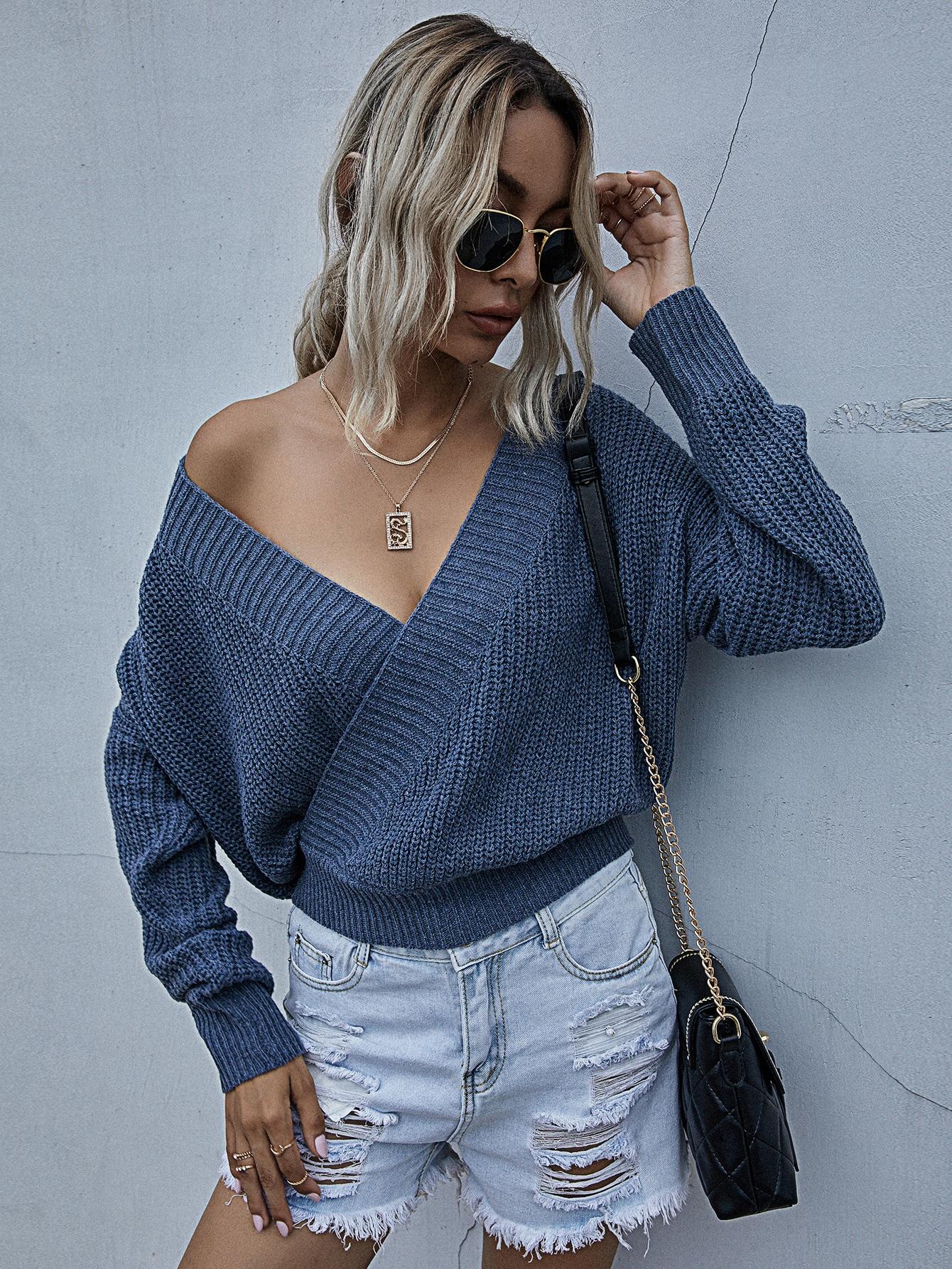 Surplice Neck Drop Shoulder Oversized Sweater thumbnail