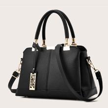 Metal Decor Satchel Bag With Bag Charm