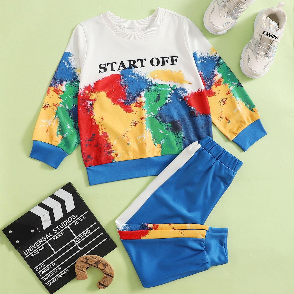 Контрастные брюки и свитшот с текстовым принтом для мальчиков