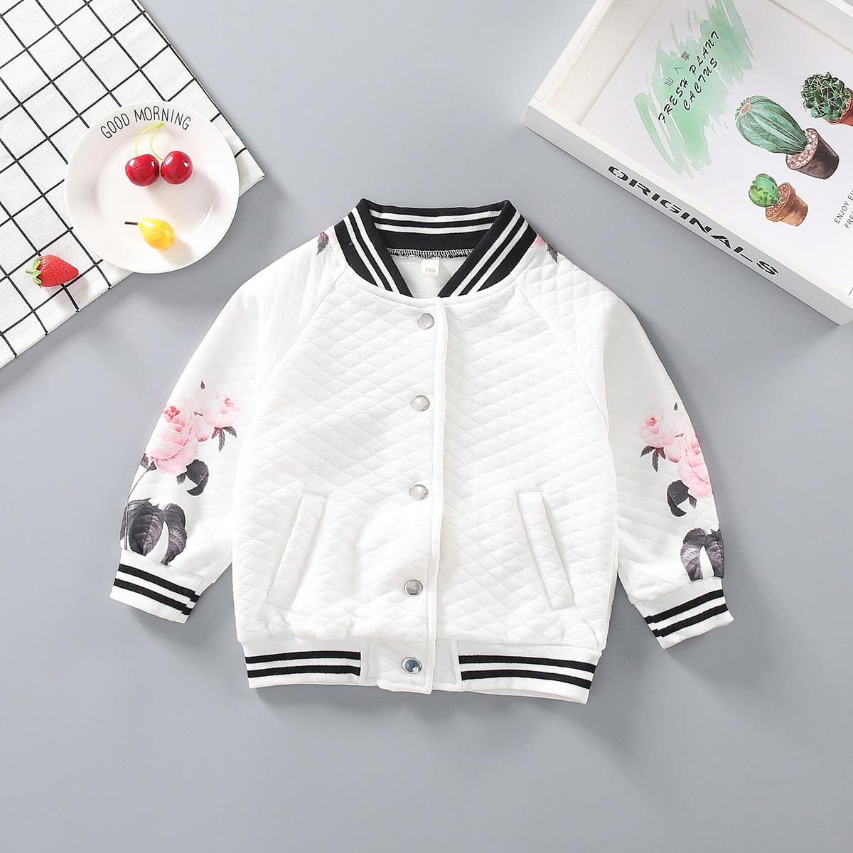 с карманами Цветочный Повседневный Пальто для маленьких девочек