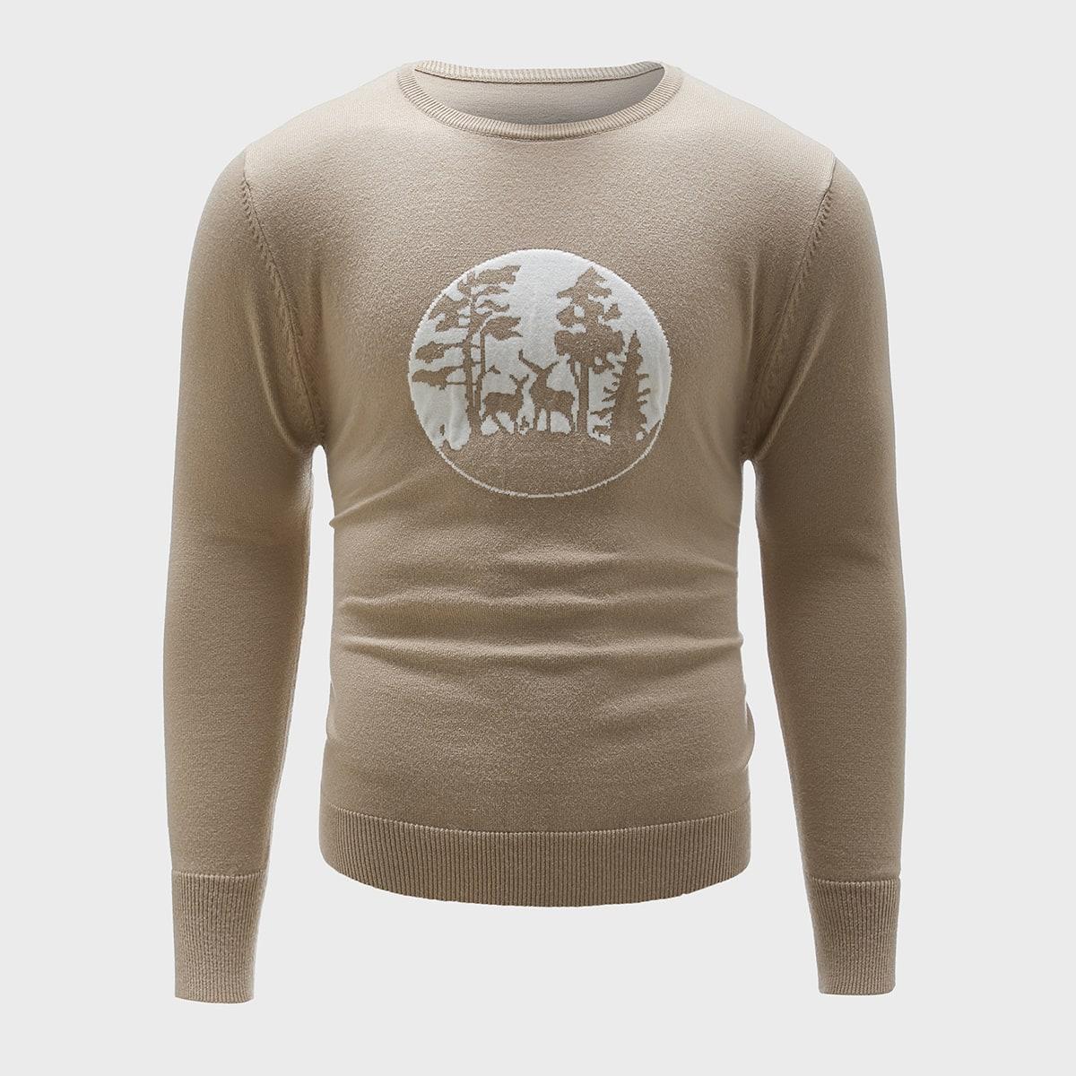 Мужской свитер с круглым вырезом с рисунком животных и деревьев