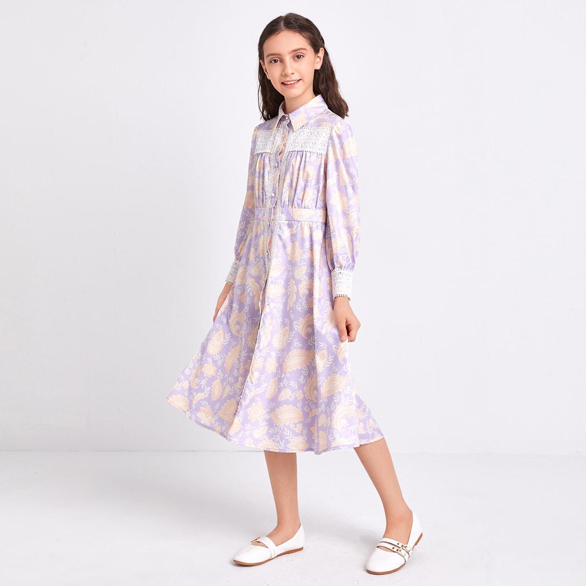 Платье с цветочным принтом и кружевной отделкой для девочек
