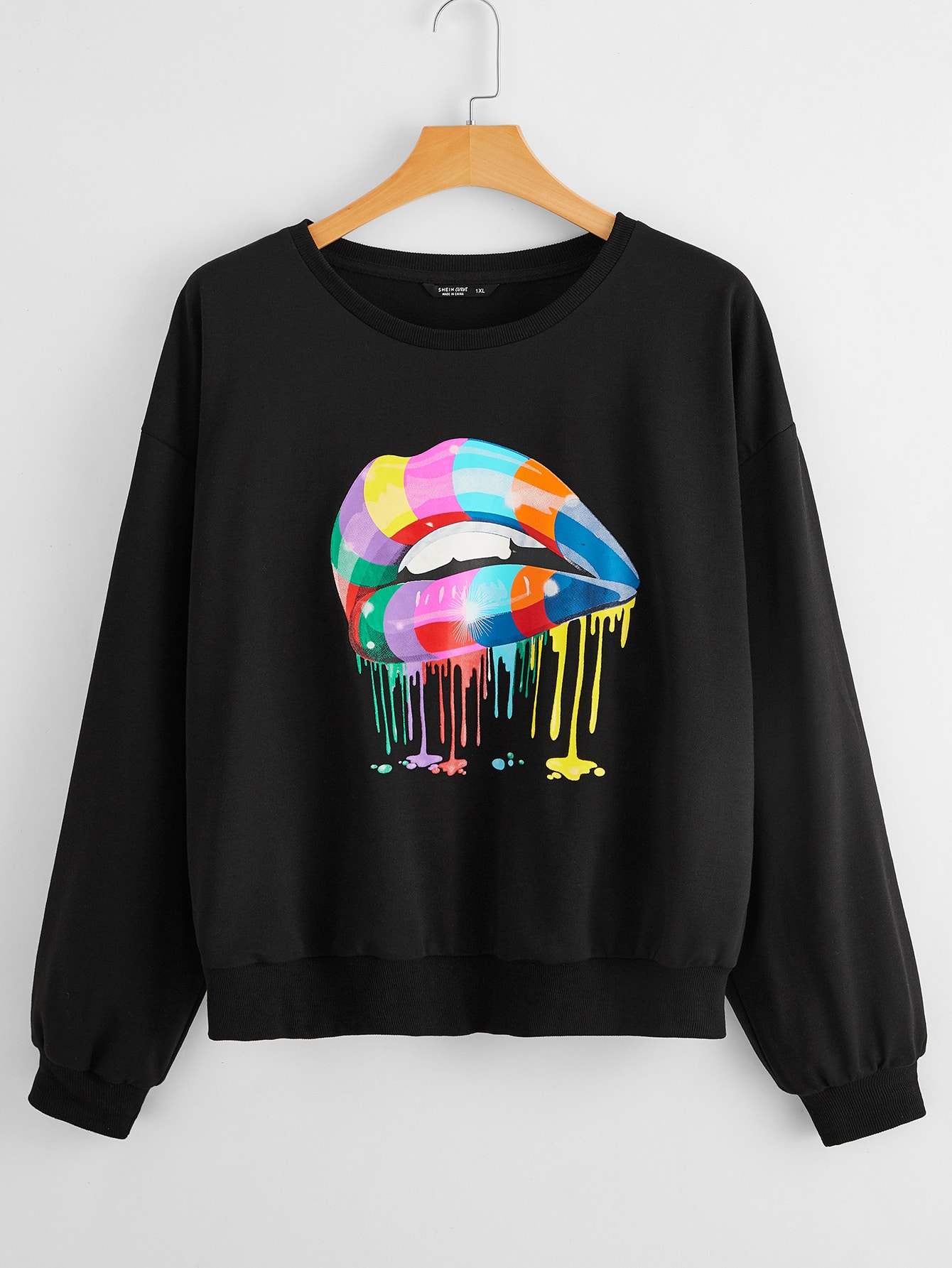 Plus Colorful Lip Print Sweatshirt thumbnail
