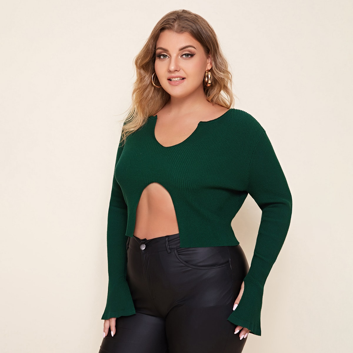 Разрез одноцветный сексуальный свитер размер плюс