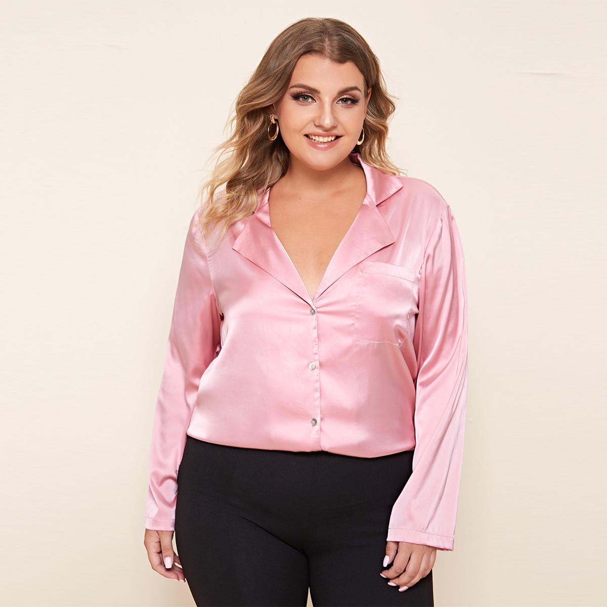 Однобортный одноцветный элегантный ночная рубашка размер плюс