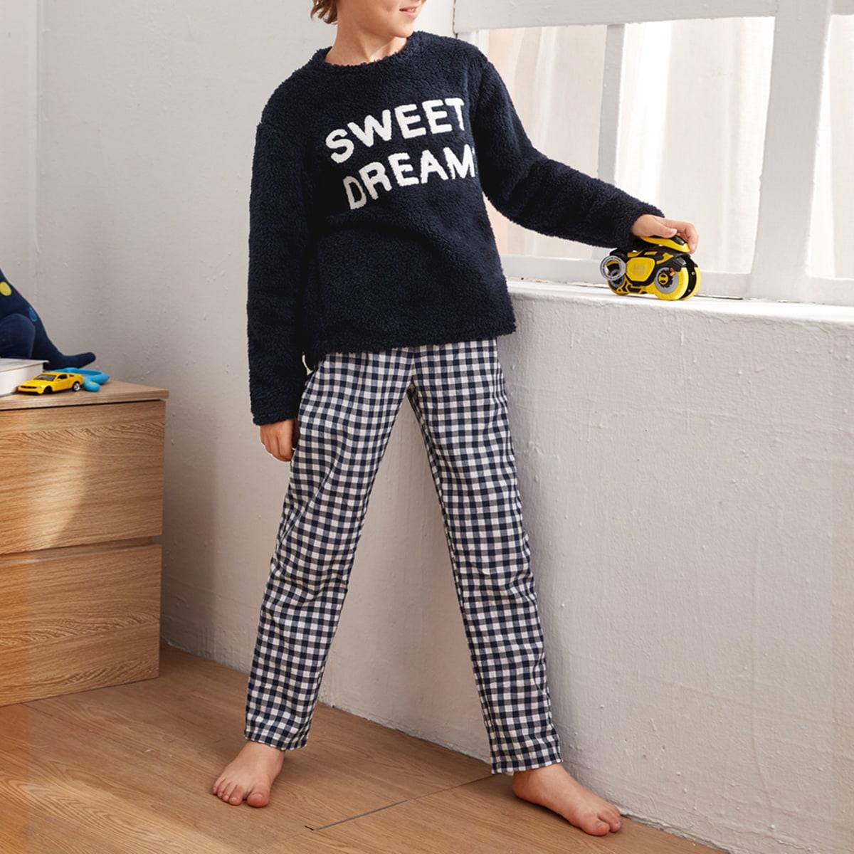 с вышивкой Клетка Повседневный Домашняя одежда для мальчиков