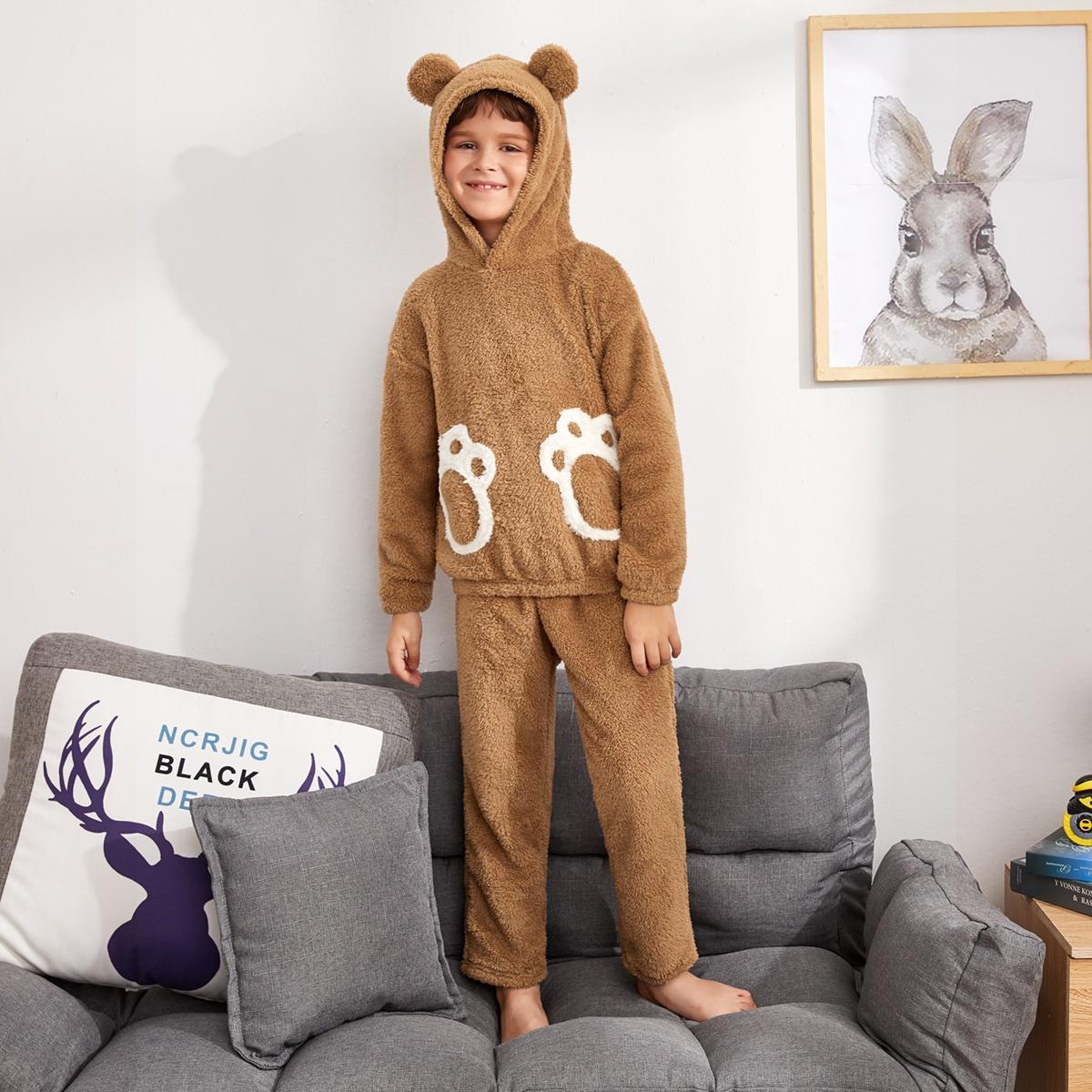 Плюшевая пижама с узором когтя медведя для мальчиков