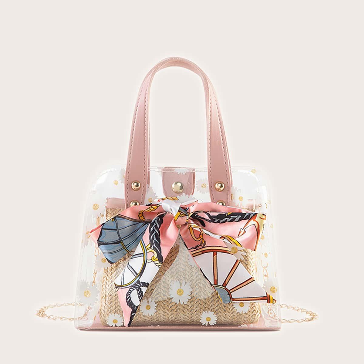 Двойная сумка с цветочным принтом