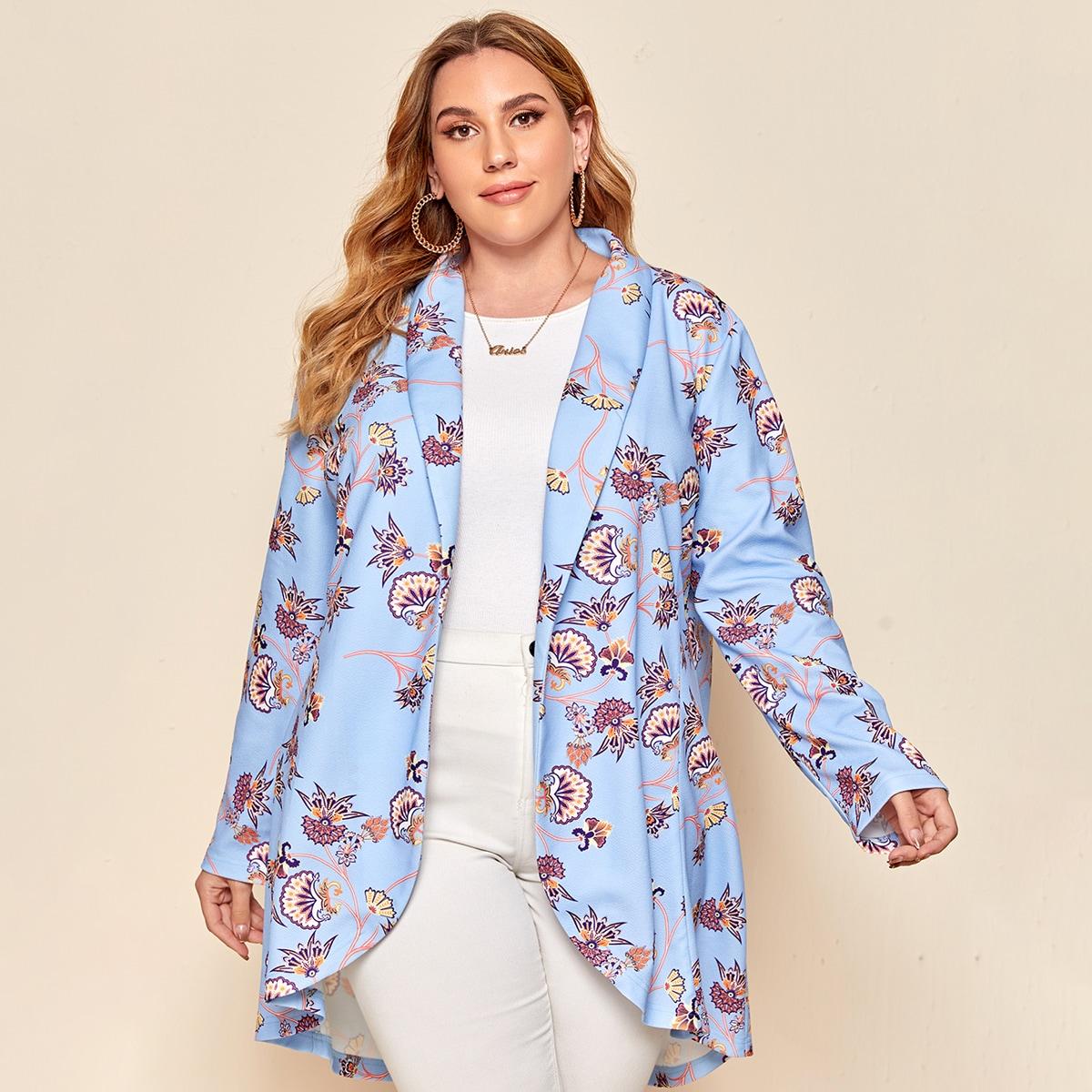 Высокая низкая со цветочками элегантный плюс размеры пальто