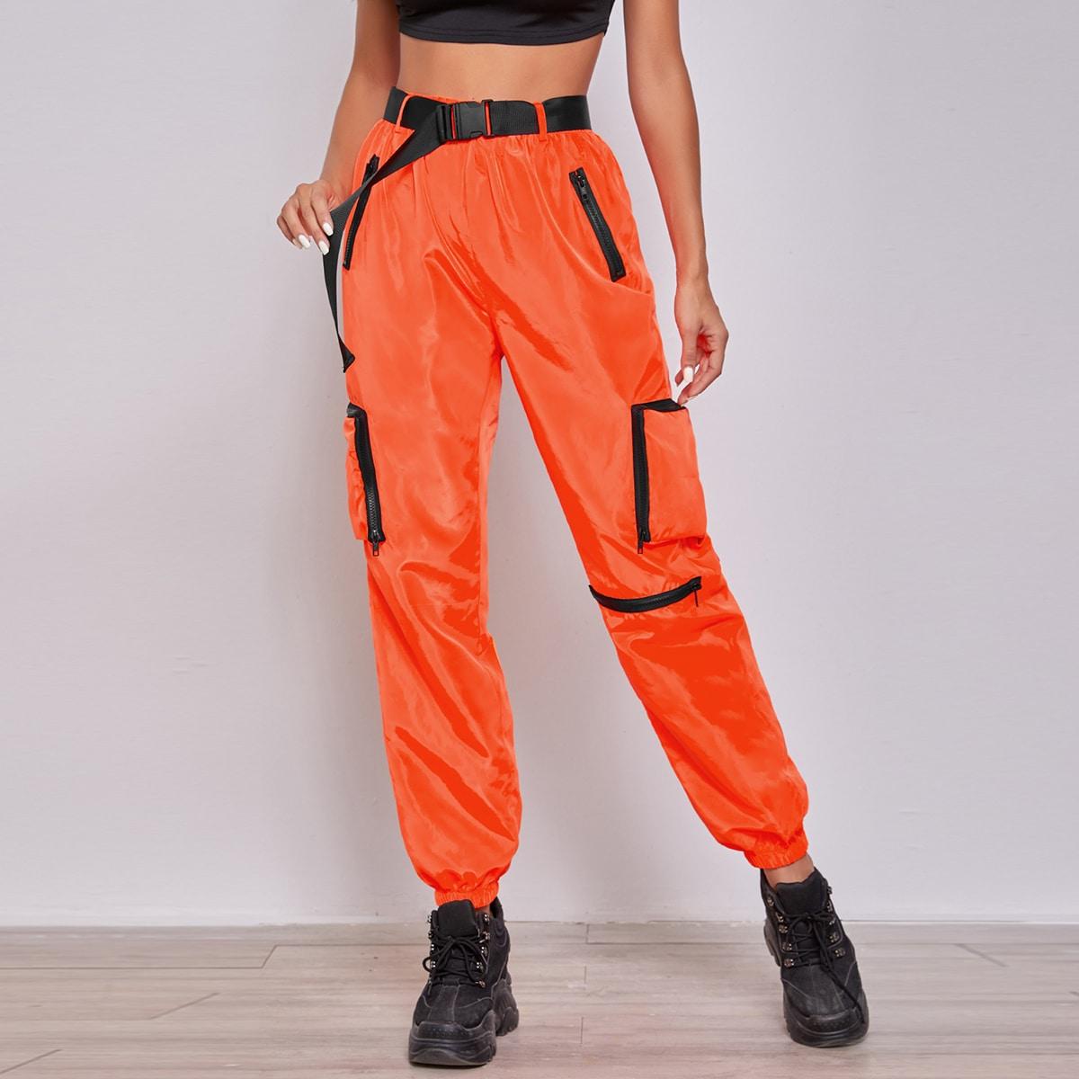 Неоновые оранжевые джоггеры с поясом