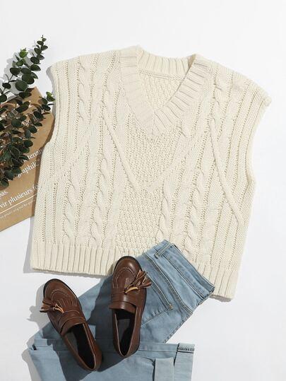 Plus Cable Knit Shoulder Pad Sweater Vest