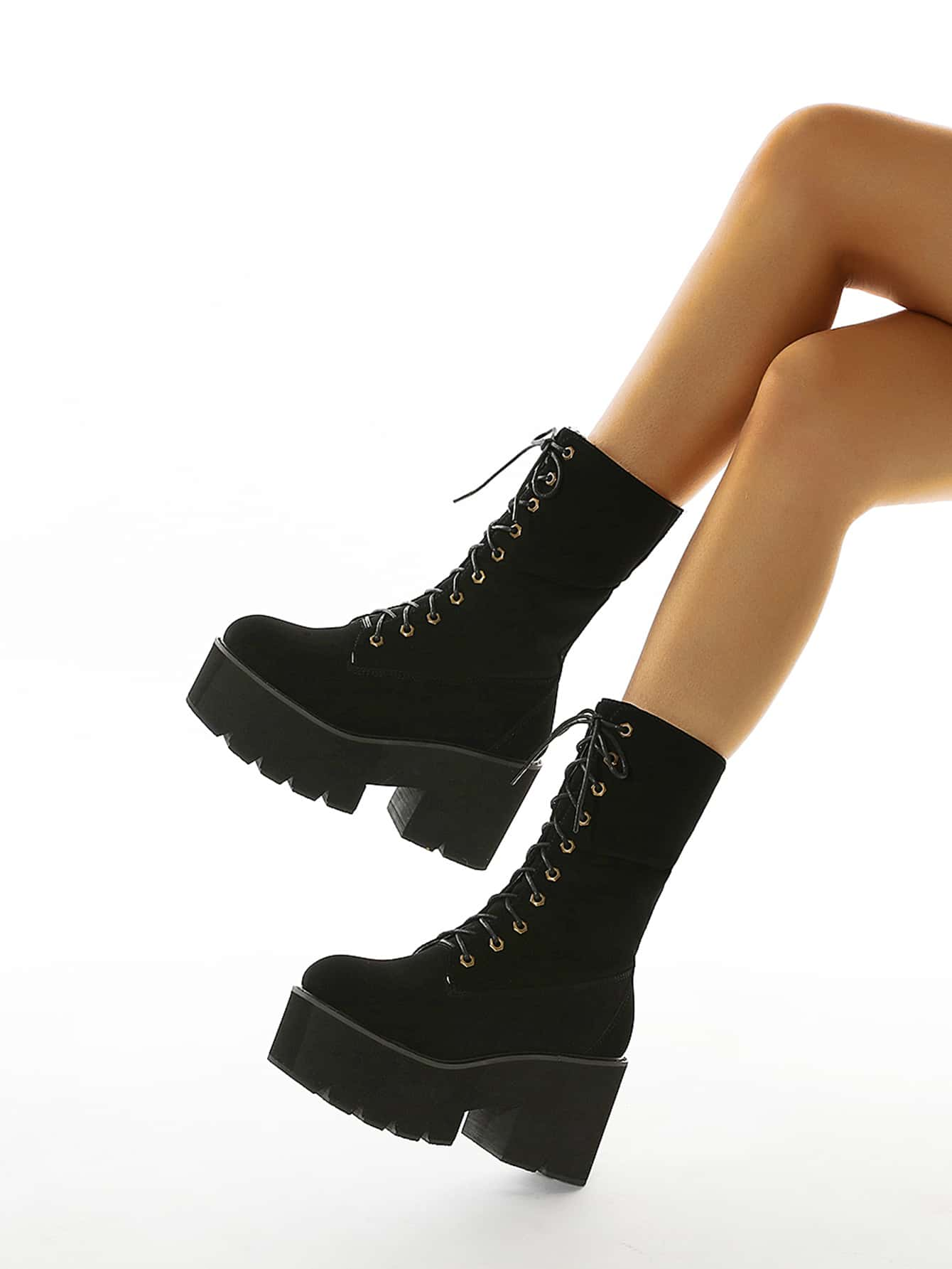 Lace-Up Front Wide Fit Chunky Heeled Boots