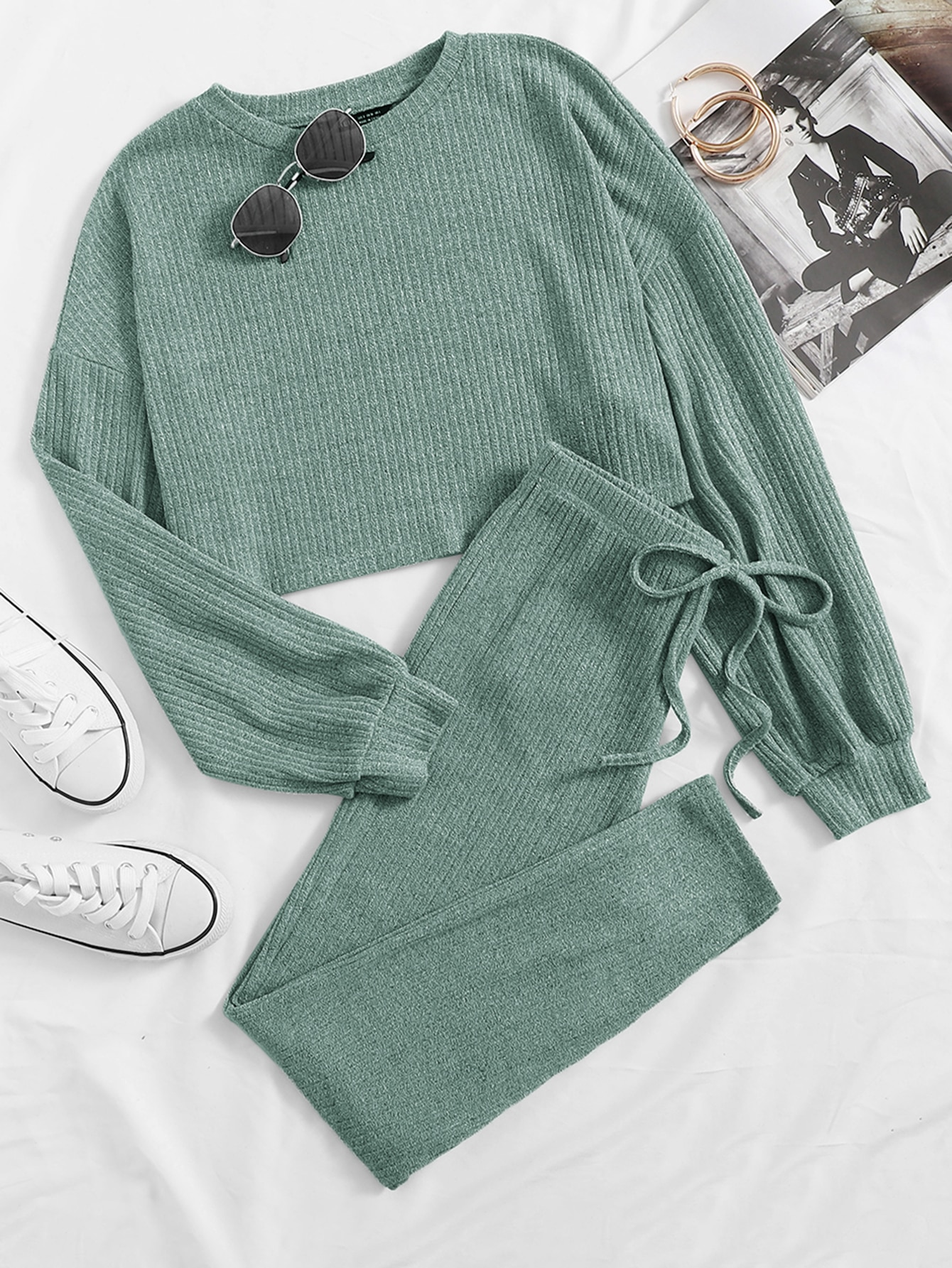 Drop Shoulder Rib-knit Tee and Knotted Leggings Set thumbnail