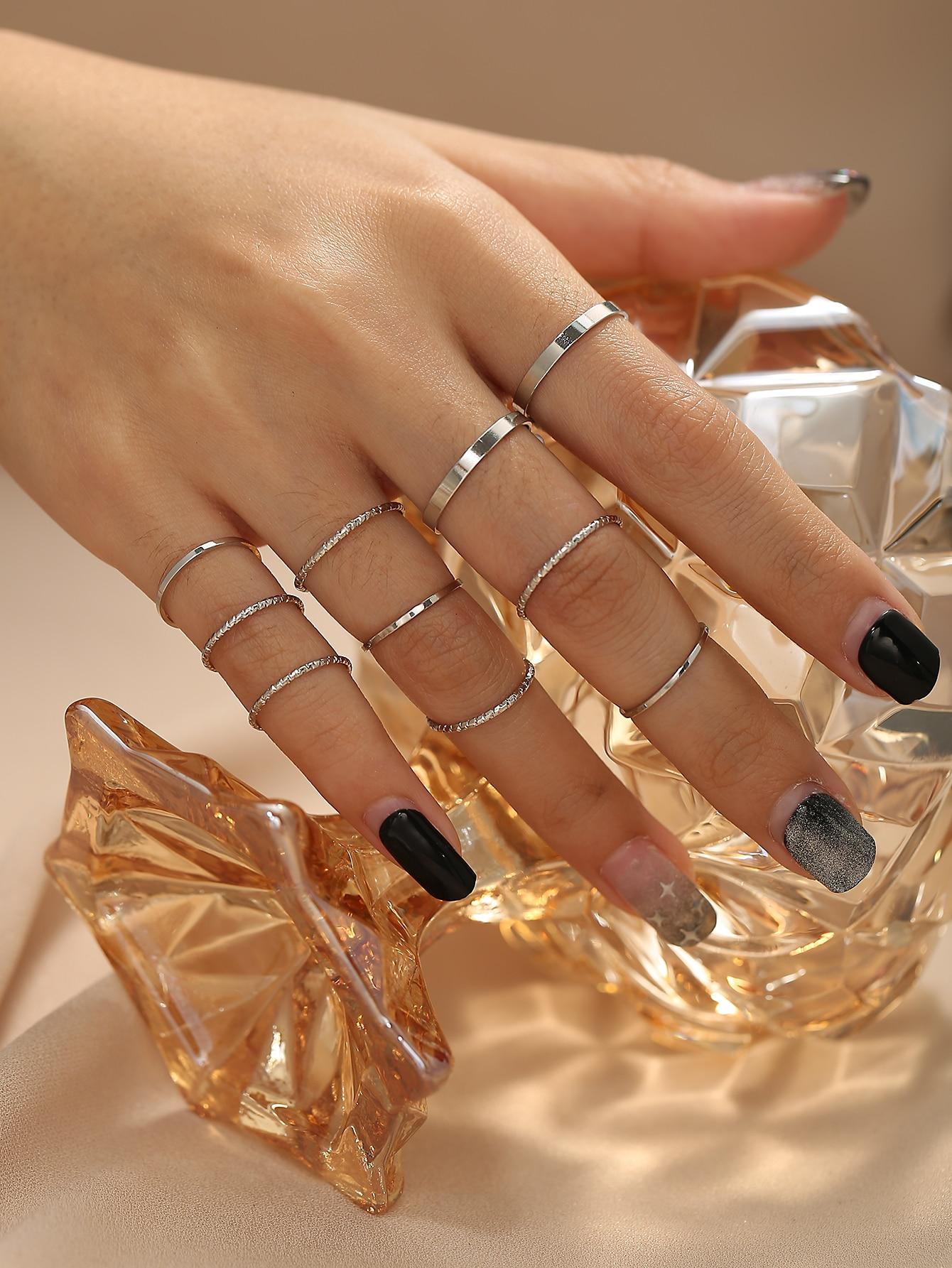 Solid Assorted Ring Set - 10pcs thumbnail