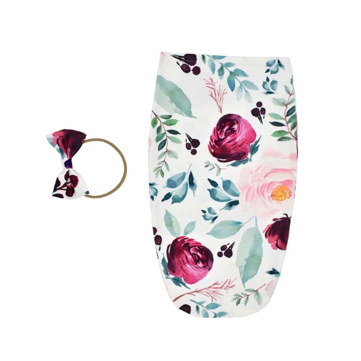 Schlafsack mit Blumen Muster & Stirnband Foto Outfit