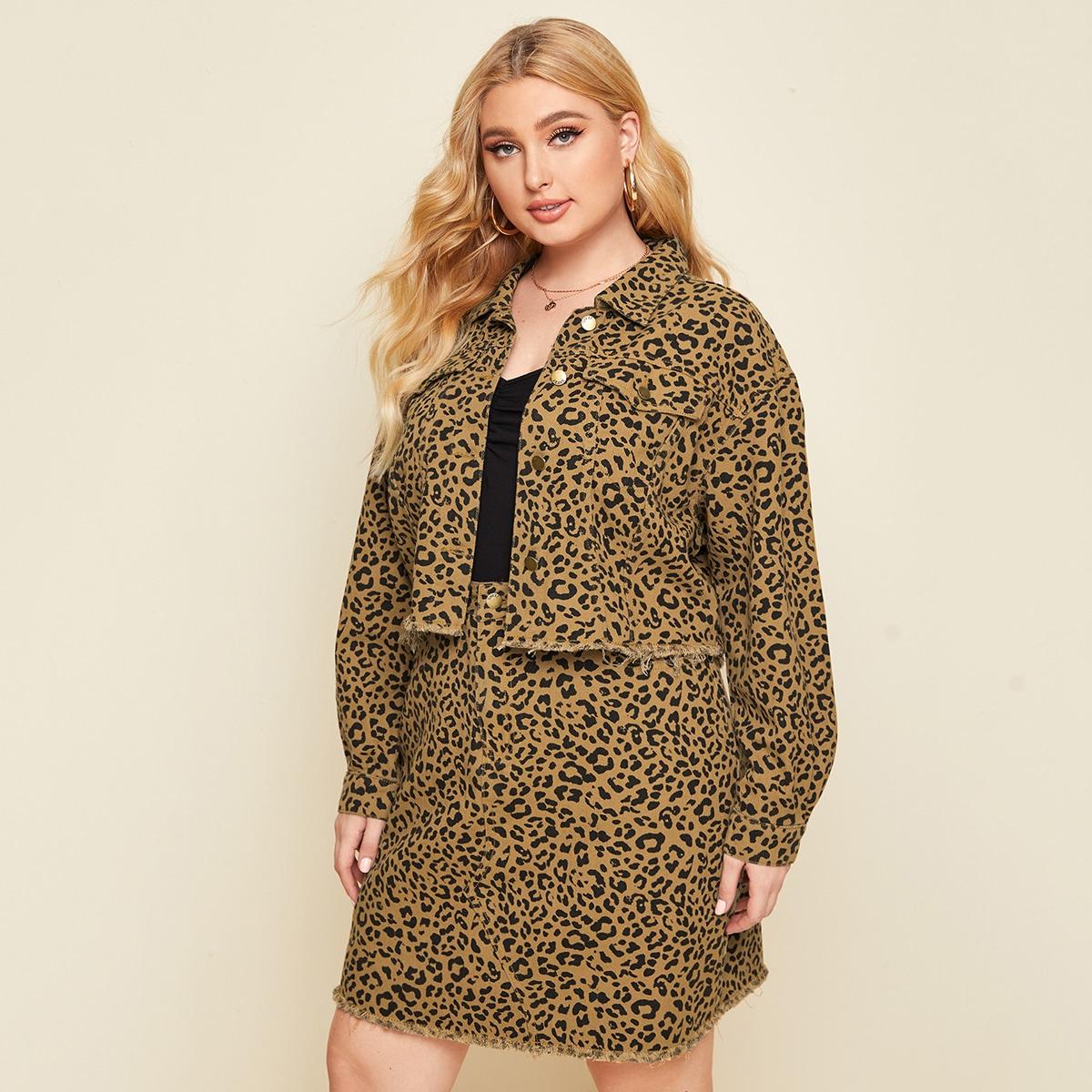 На пуговицах леопард повседневный джинсовый костюм размер плюс