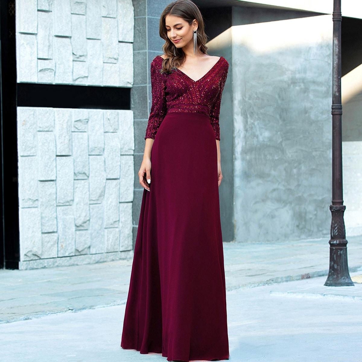 Контрастное блестящее шифоновое платье