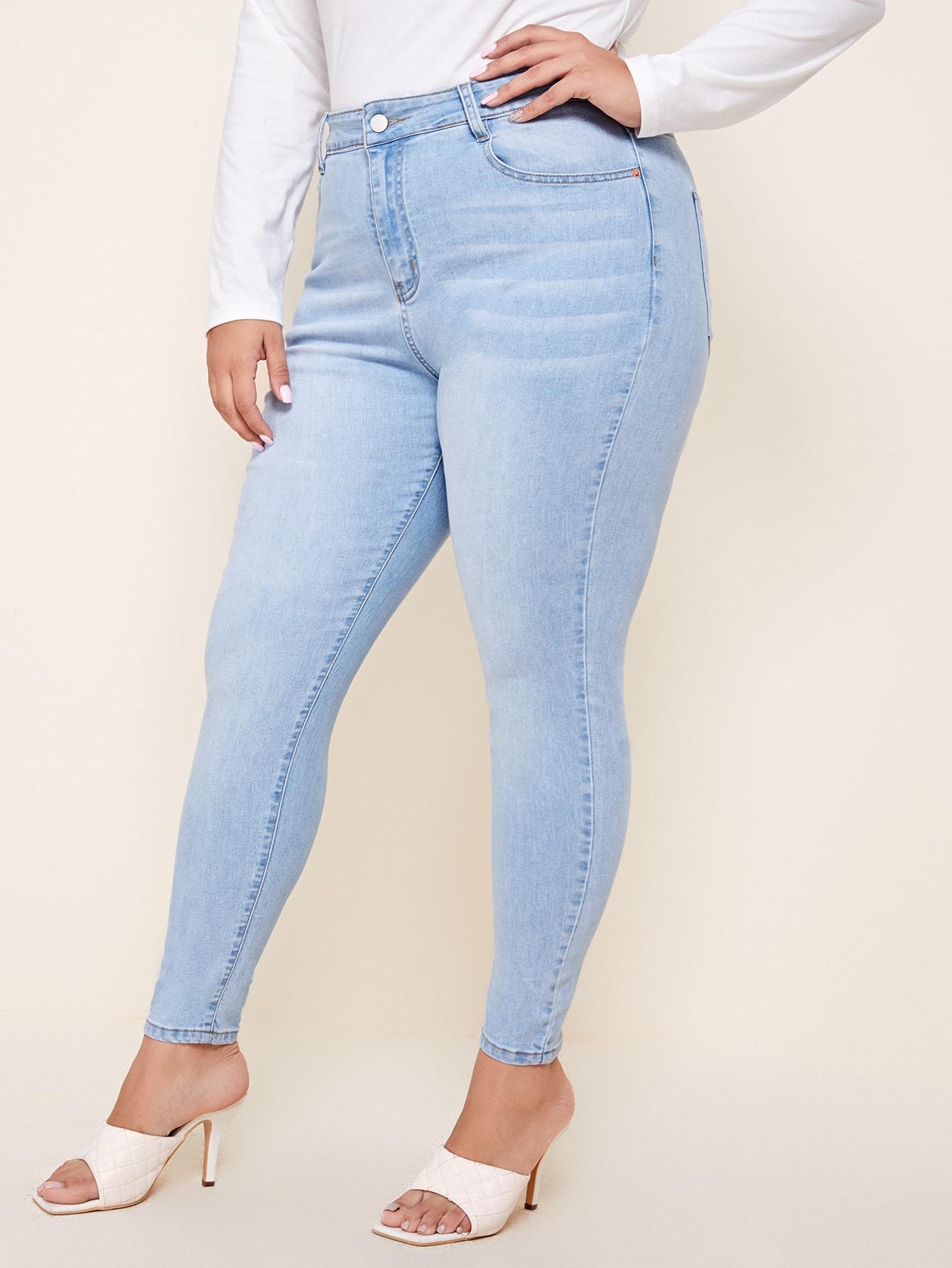 Plus Light Wash Skinny Jeans thumbnail