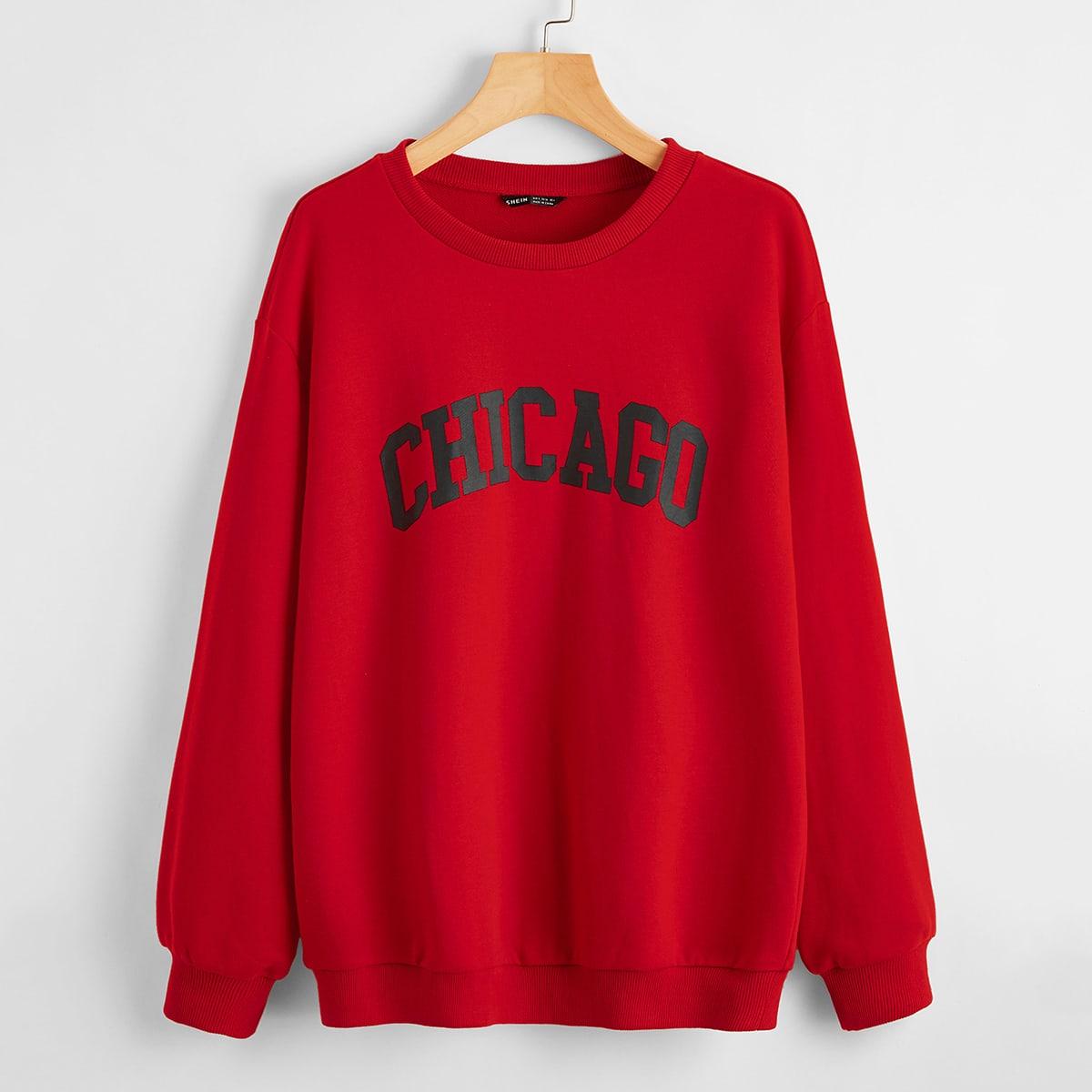 SHEIN / Chicago Graphic Drop Shoulder Sweatshirt