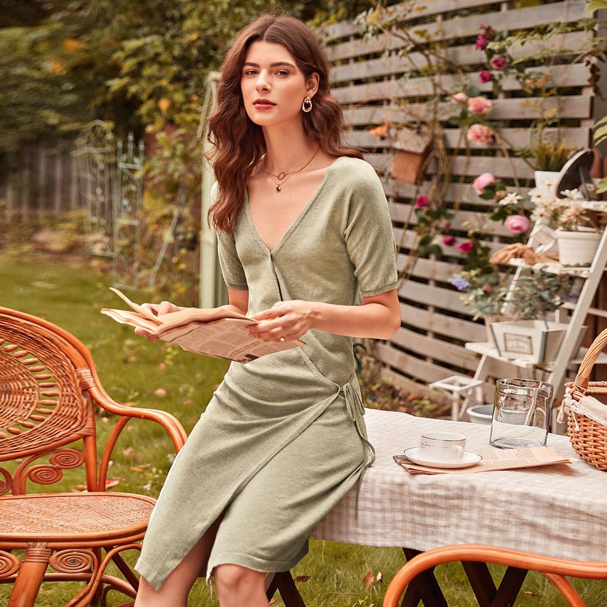 На запах одноцветный элегантный платья-свитеры