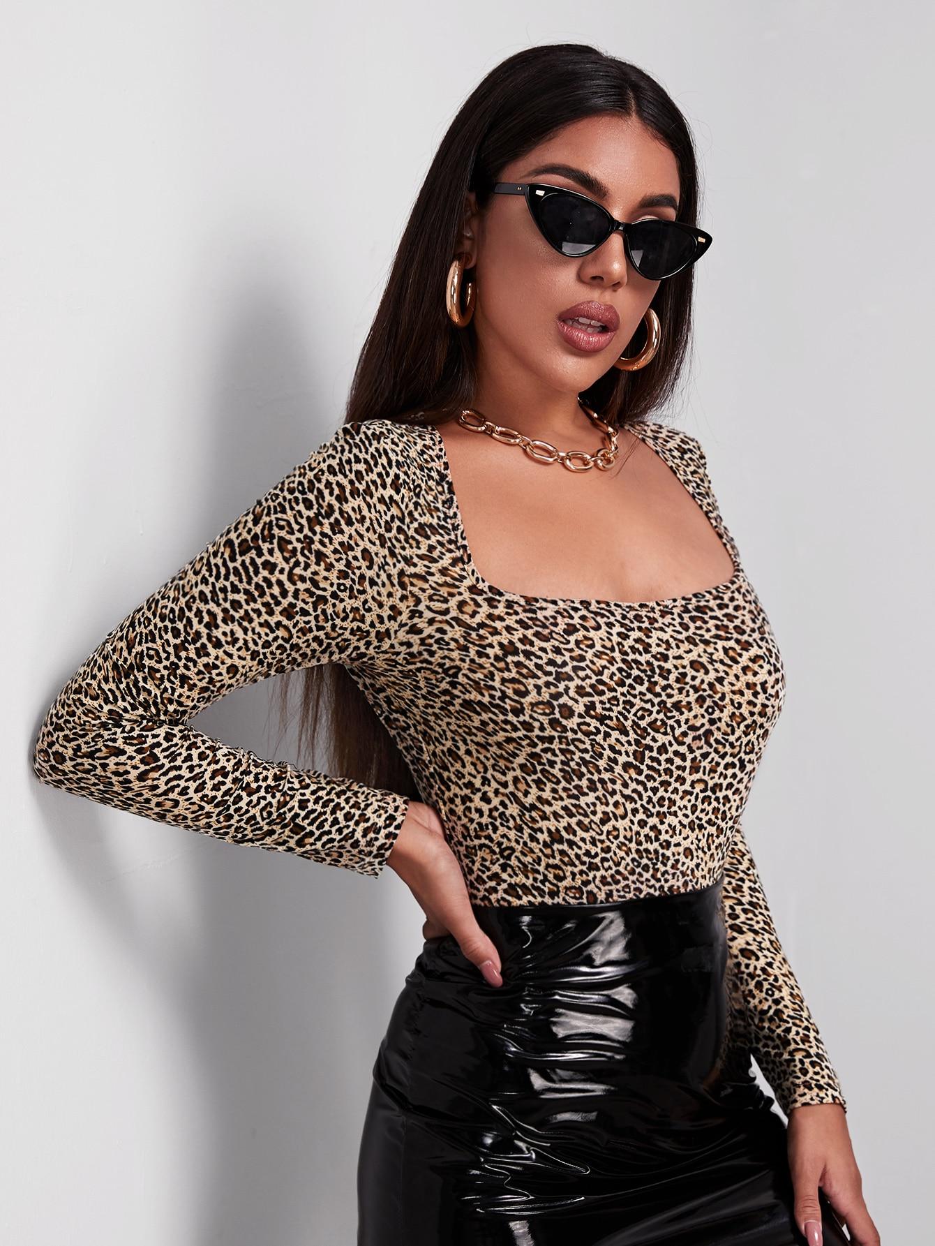 Leopard Print Long Sleeve Cheeky Bodysuit thumbnail