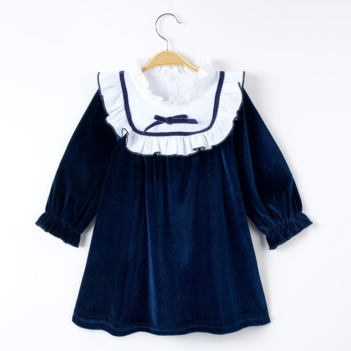 Бархатное платье с бантом для девочек от SHEIN