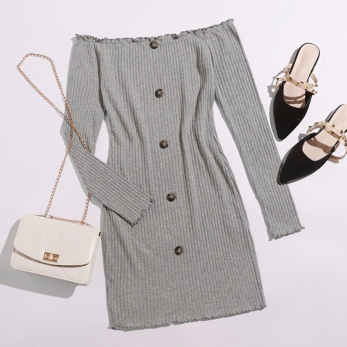 Schulterfreies figurbetontes Strick Kleid mit Knöpfen vorn