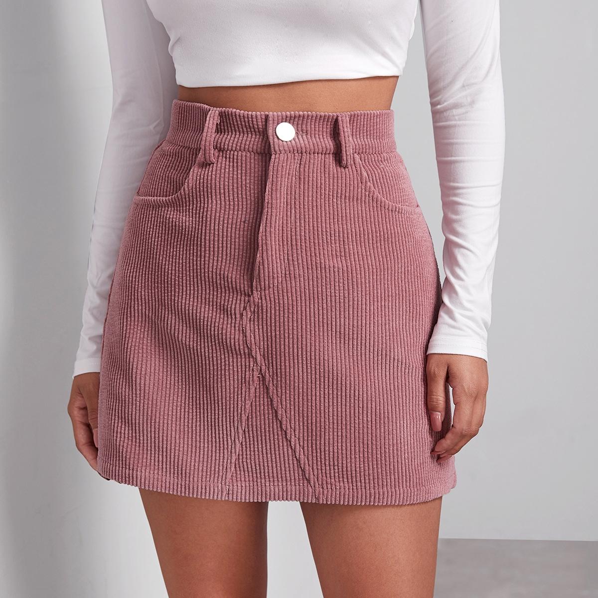 Вельветовая юбка с пуговицами