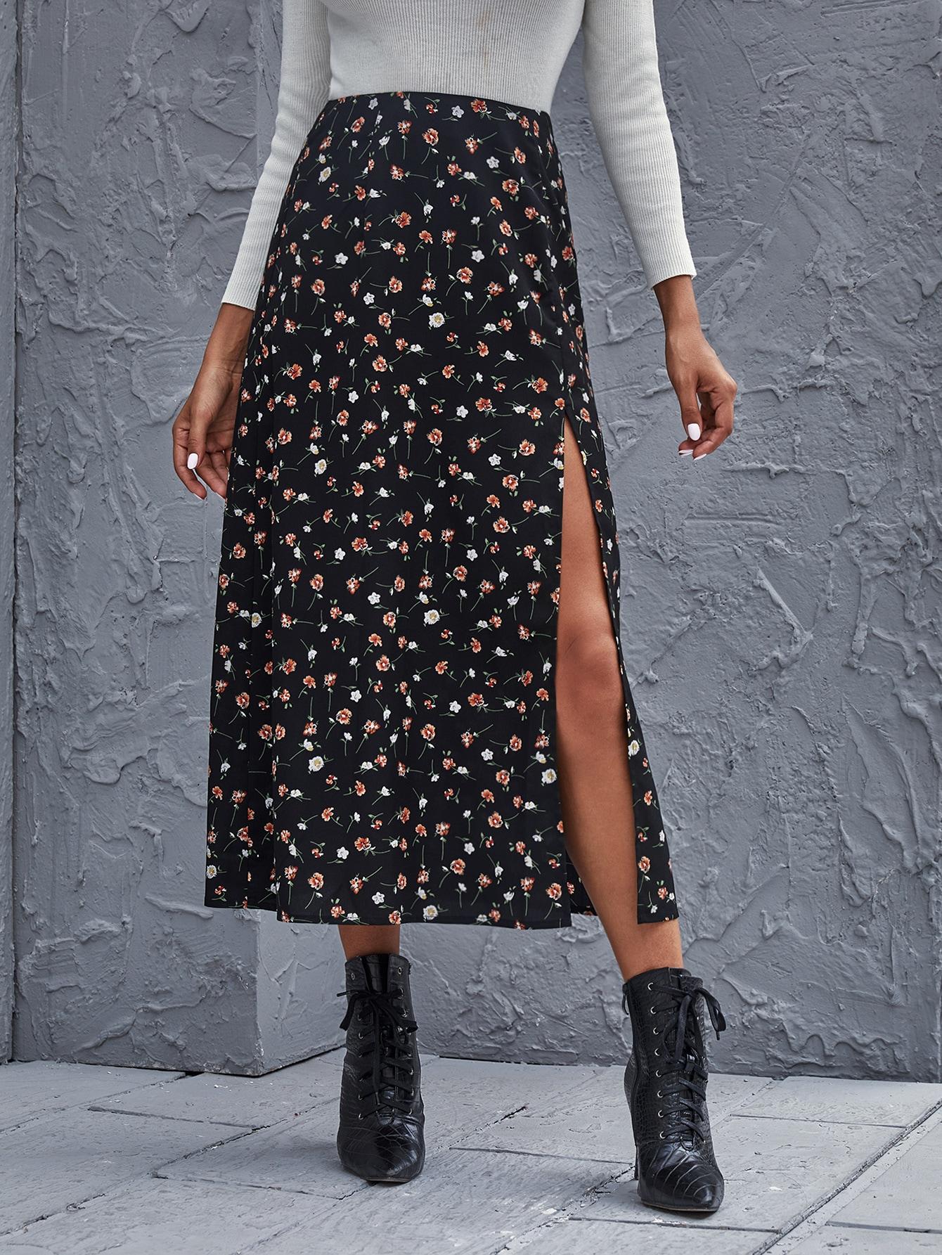 Ditsy Floral High-Slit Midi Skirt thumbnail