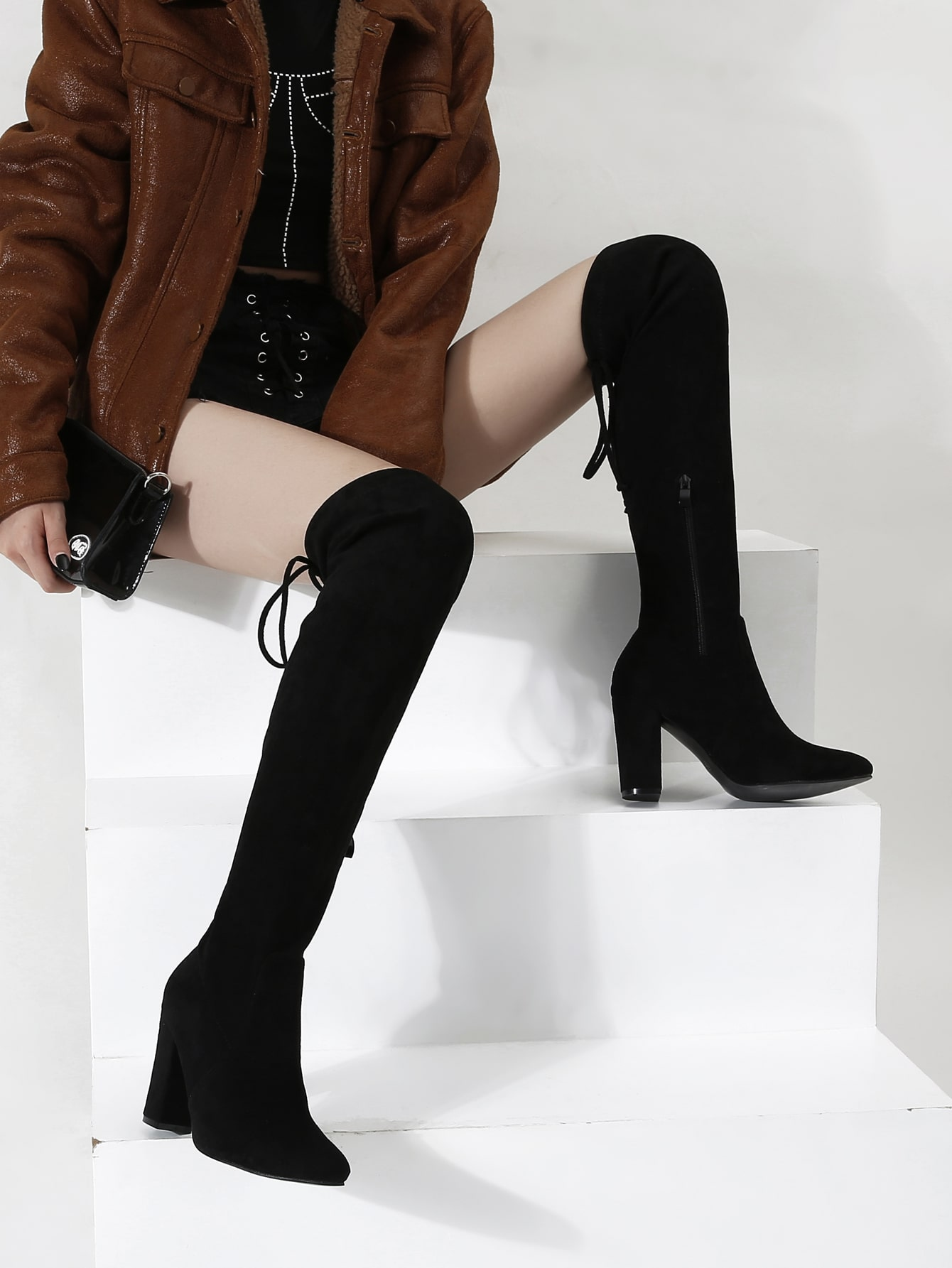 Point Toe Chunky Heeled Over The Knee Boots