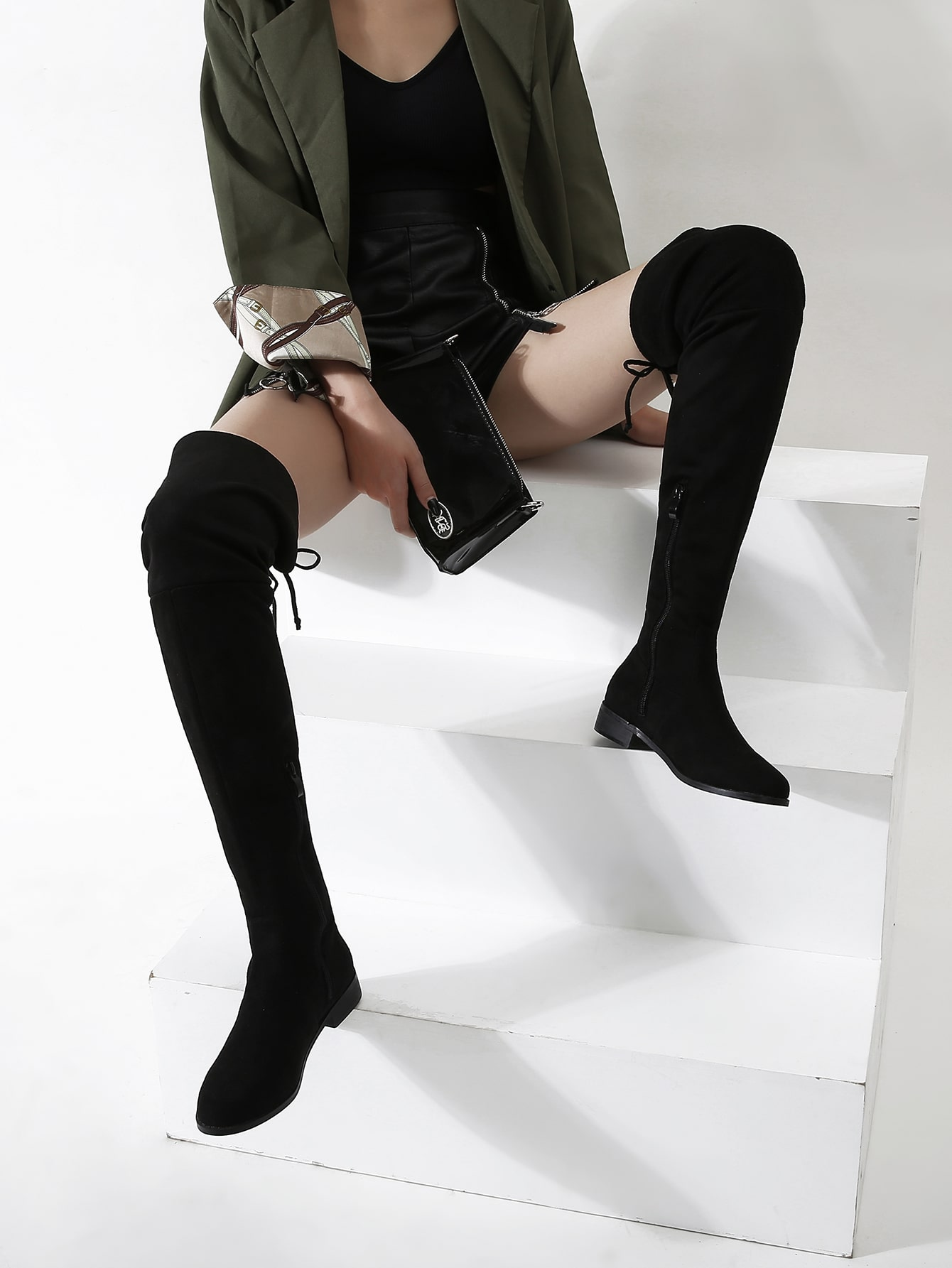 Lace-Up Back Over The Knee Boots