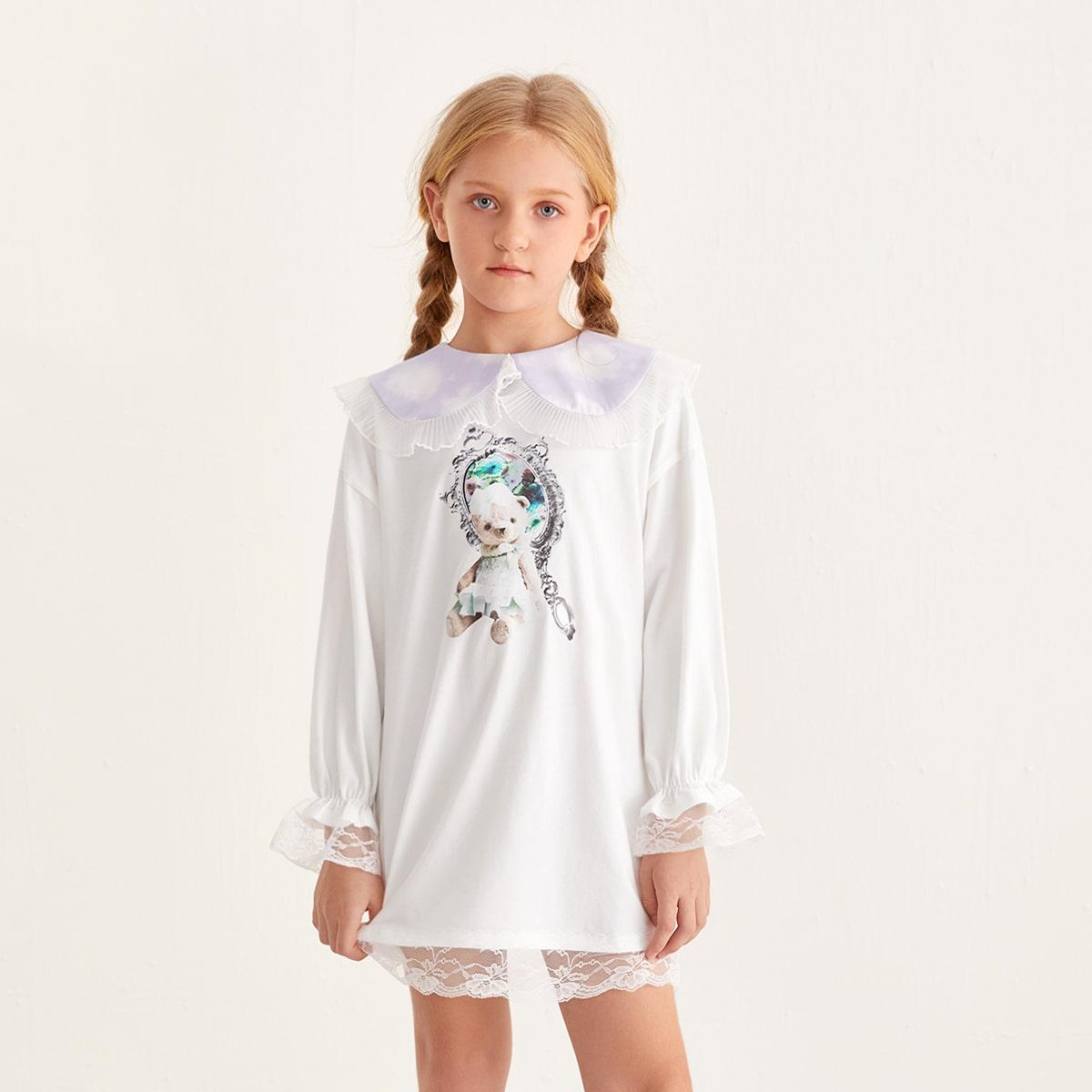 С воланами мультяшный принт милый домашняя одежда для девочек