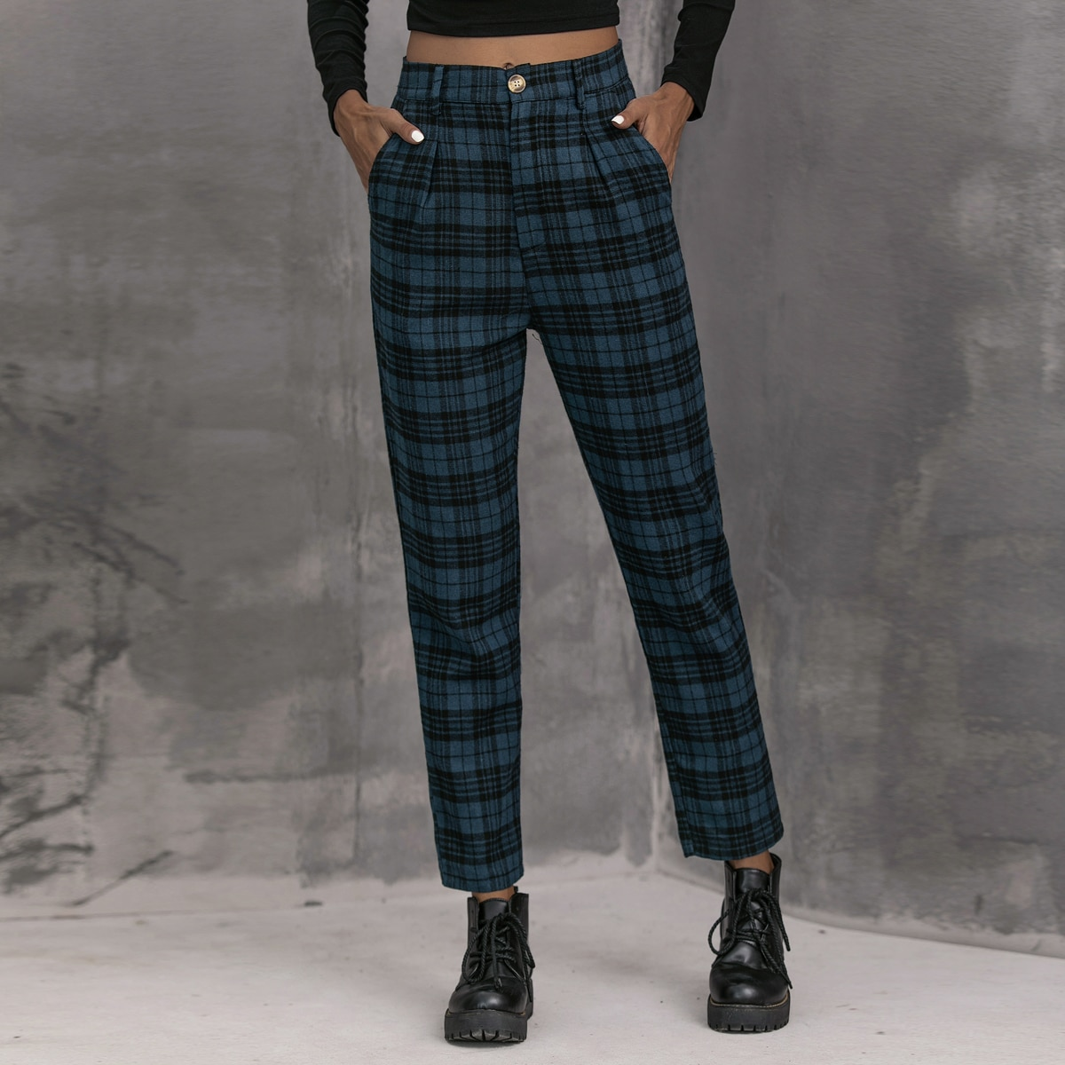 Plaid High-Rise Tapered Pants
