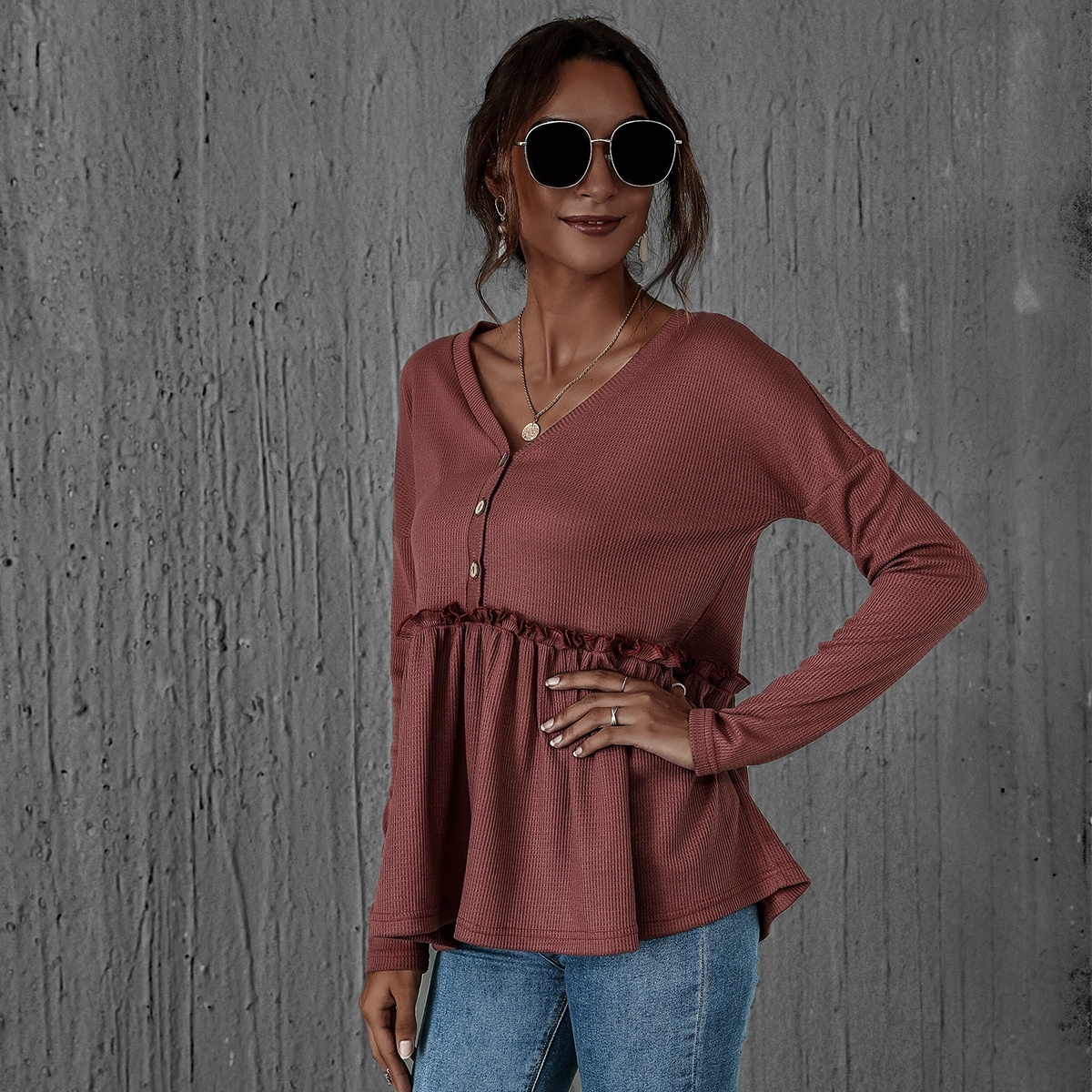 Button Front Frill Ruffle Hem Waffle Knit Tee, SHEIN  - buy with discount