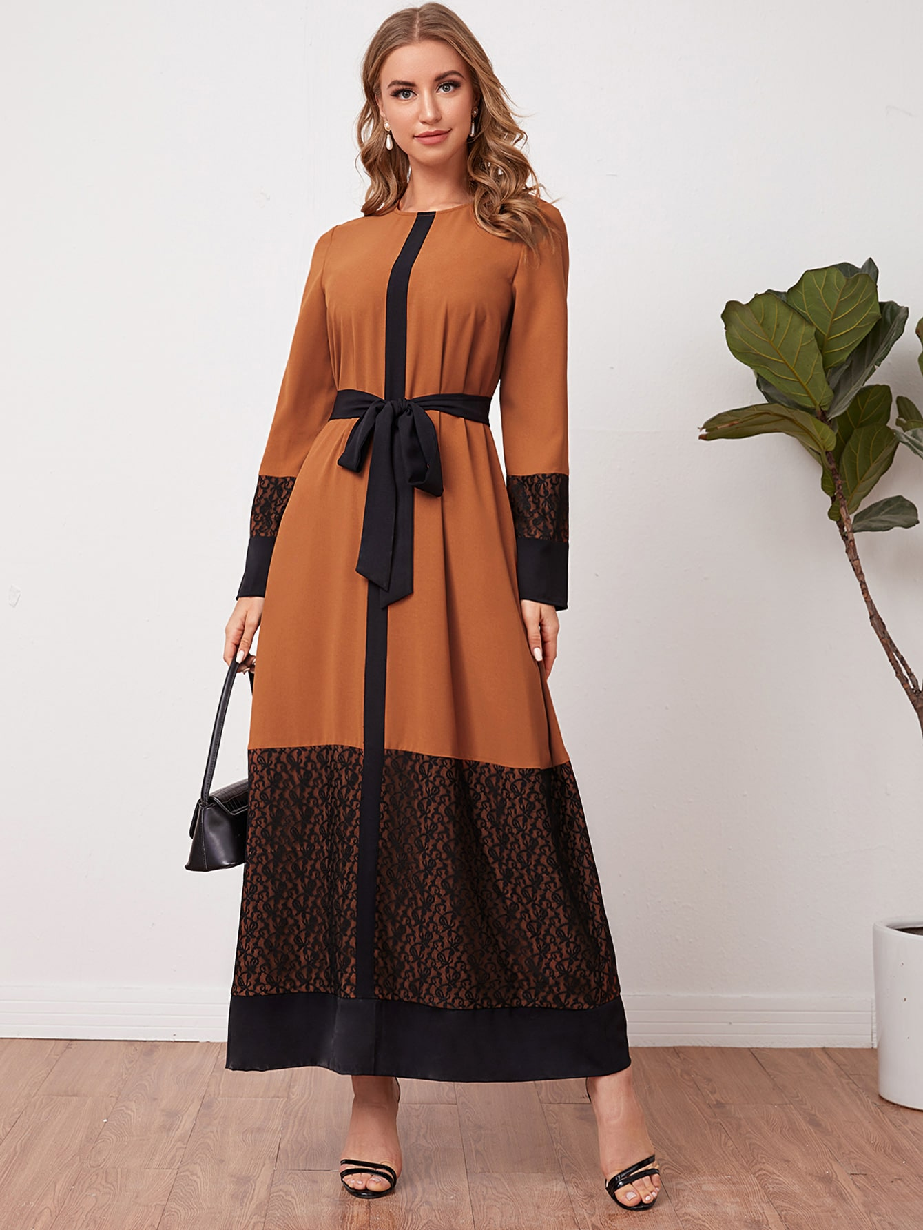 Lace Trim Two Tone Self Belted Dress thumbnail