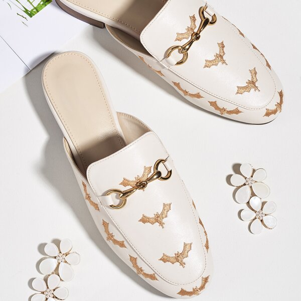 Bat Embroidered Loafer Flat Mules, Beige