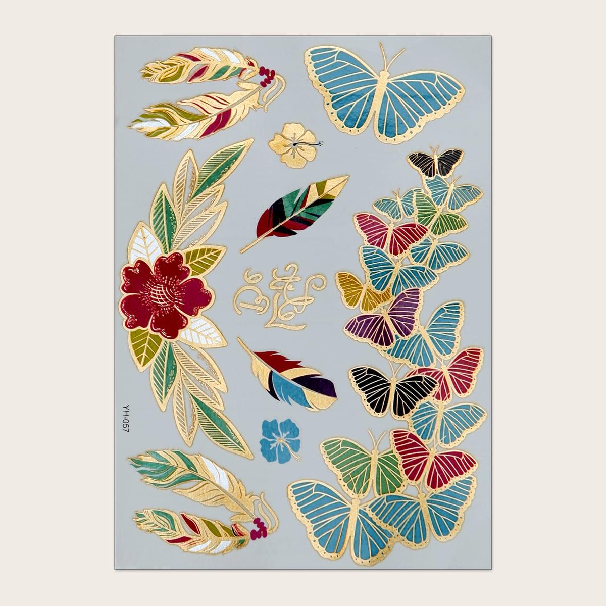 1 pièce Sticker de tatouage à motif papillon