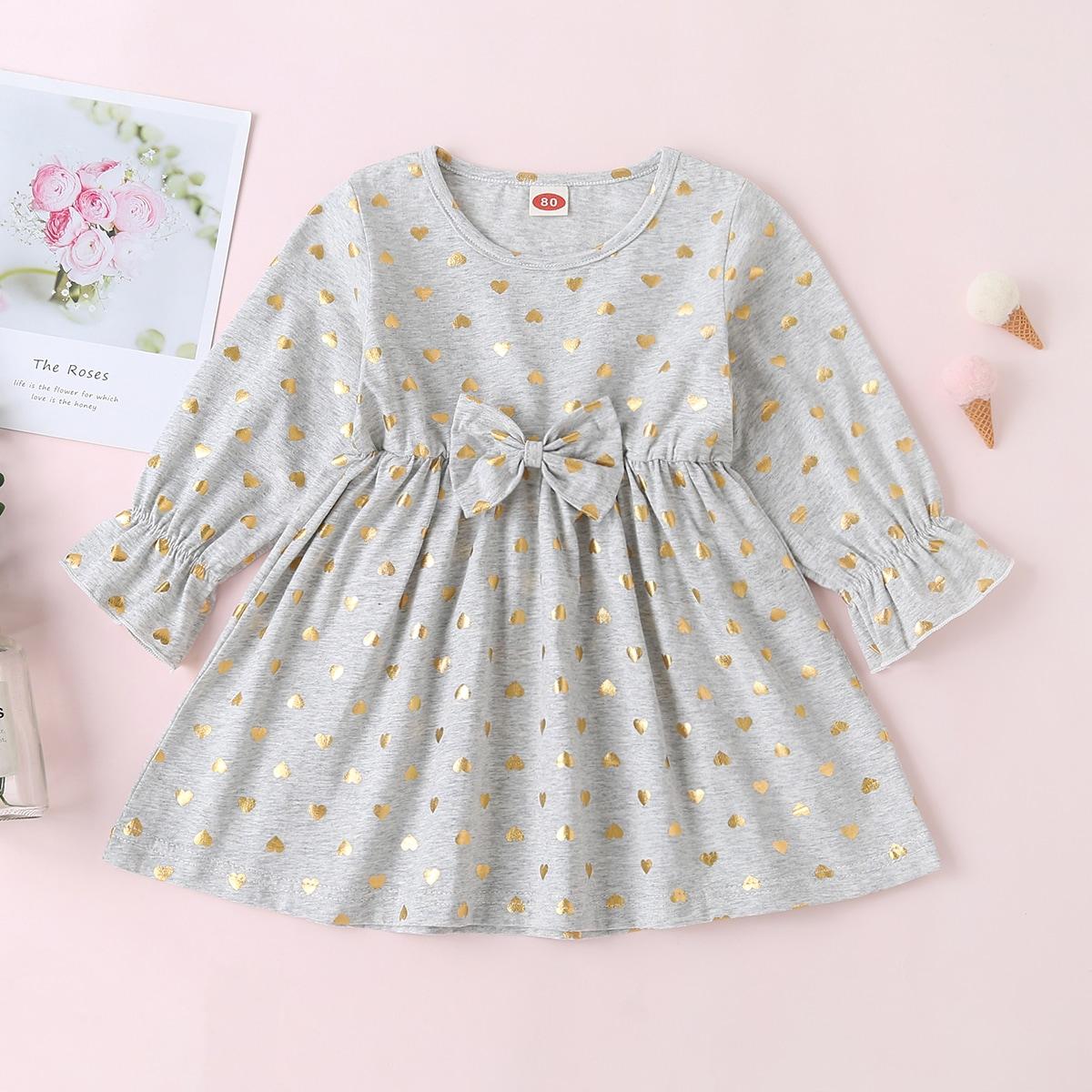 Платье с бантом и принтом сердечка для девочек от SHEIN