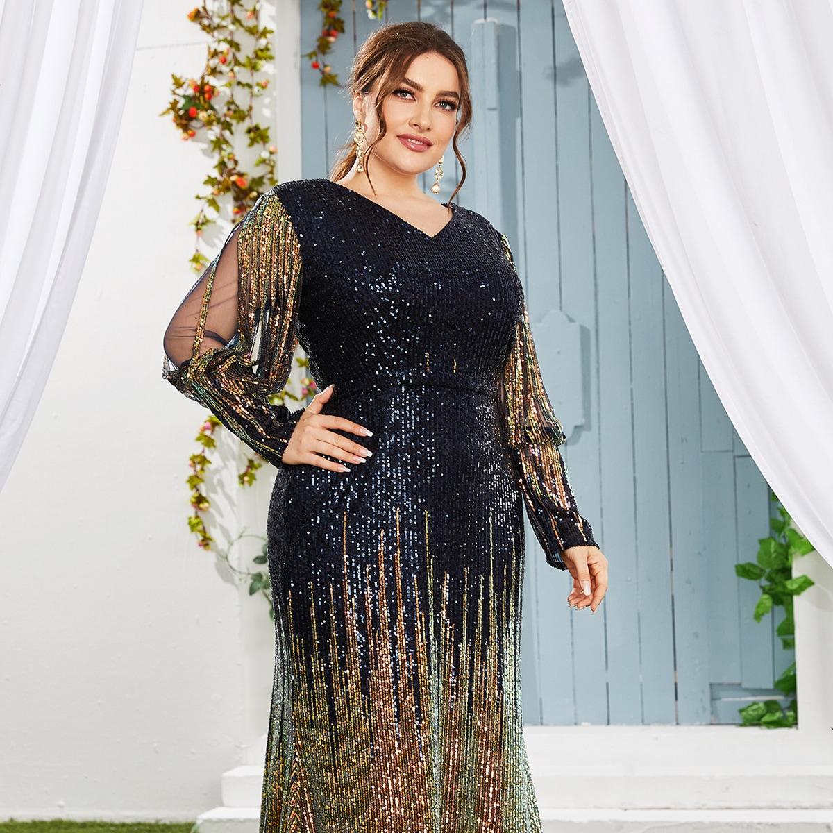 Платье размера плюс с сетчатым рукавом и блестками