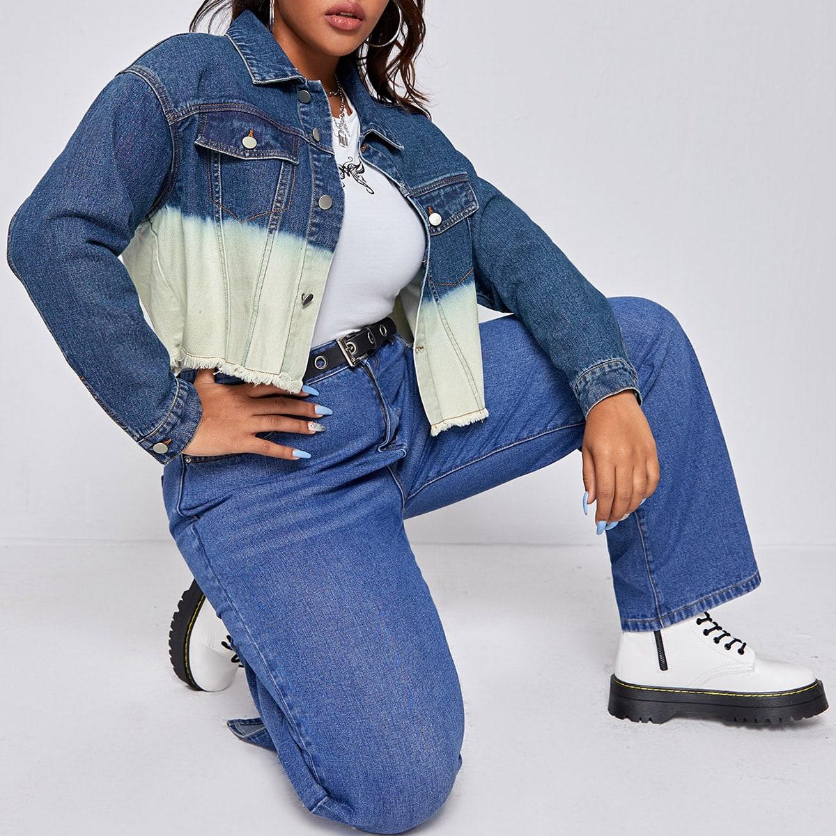 Контрастная джинсовая куртка размера плюс