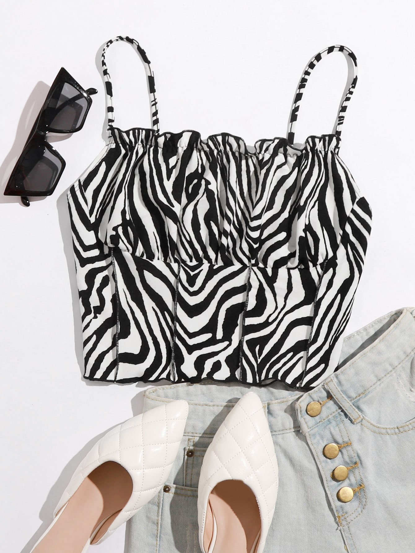 Ruched Bust Seam Front Zebra Striped Cami Top thumbnail