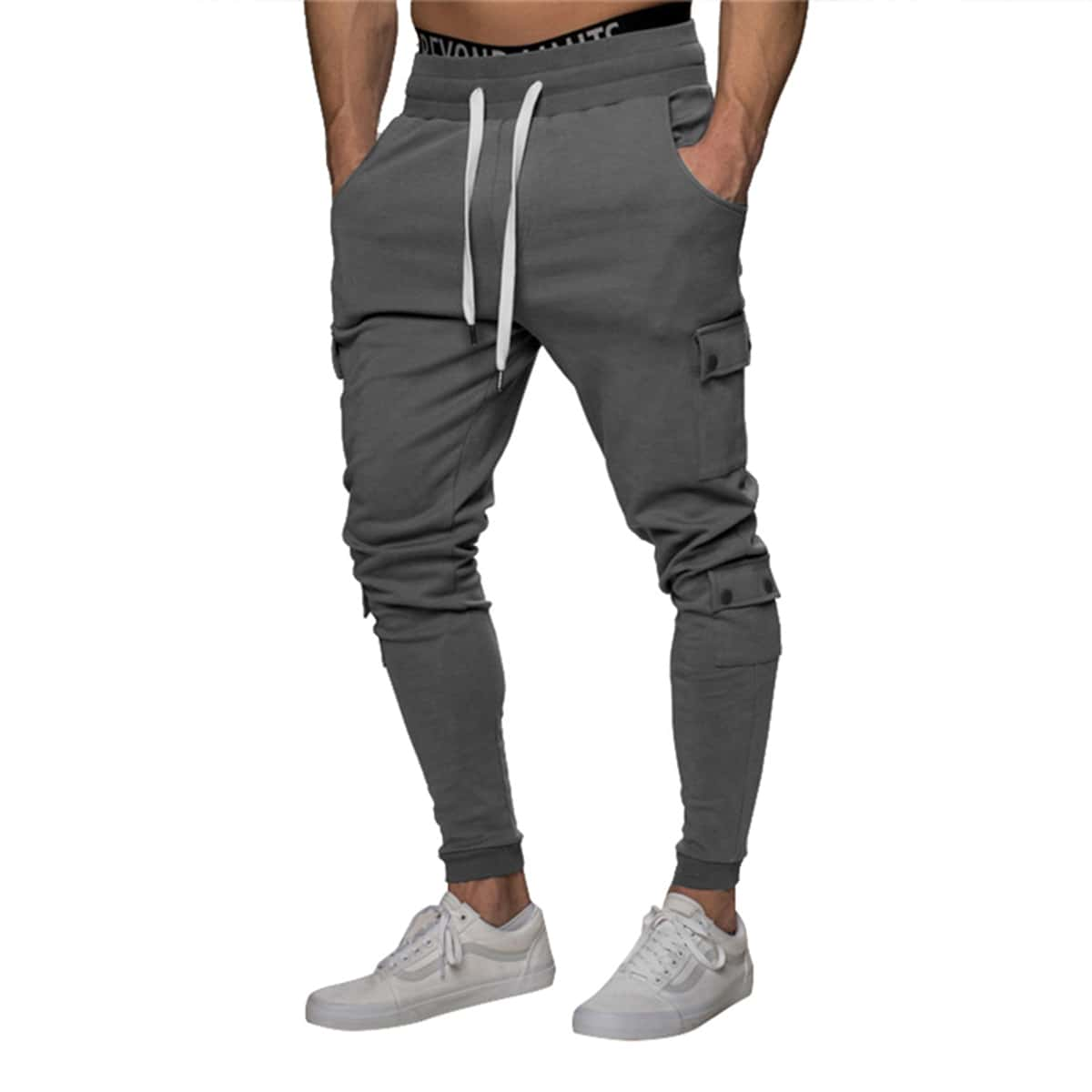 Men Side Flap Pocket Drawstring Waist Sweatpants