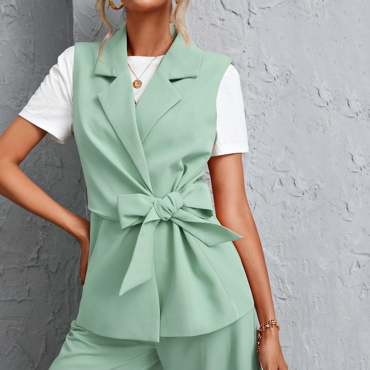 С бантом ровный цвет элегантный пиджаки