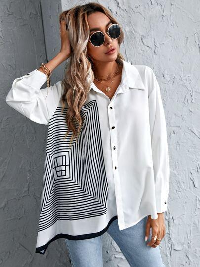 Однобортный Геометрический Повседневный Блузы