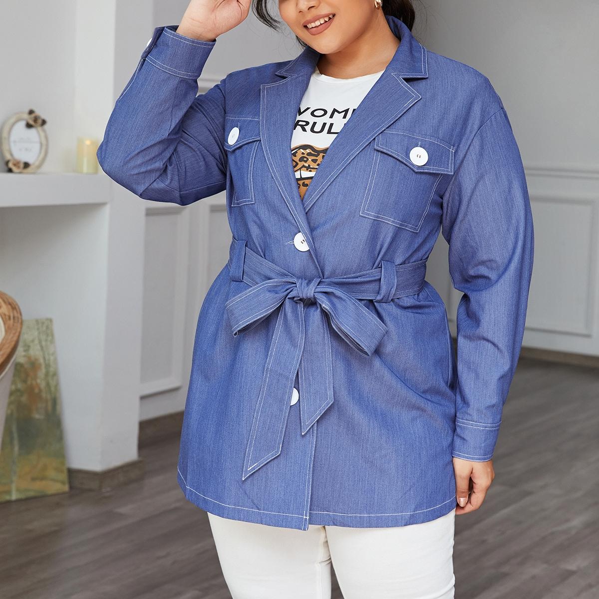 Пальто размера плюс с пуговицами и поясом
