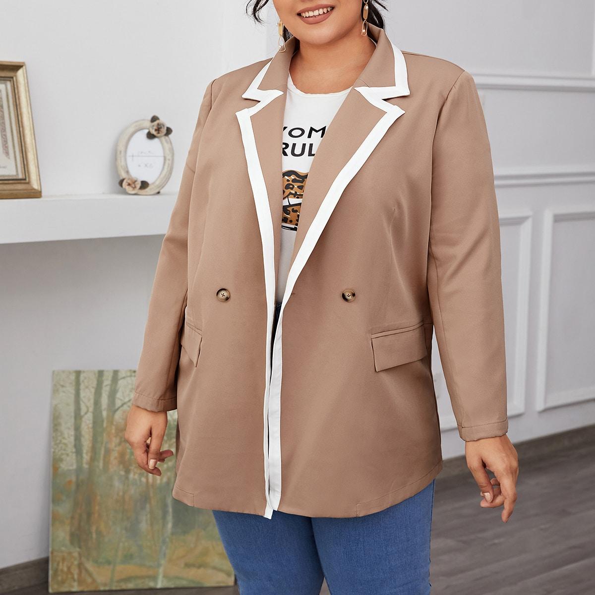 Пиджак размера плюс с контрастной отделкой